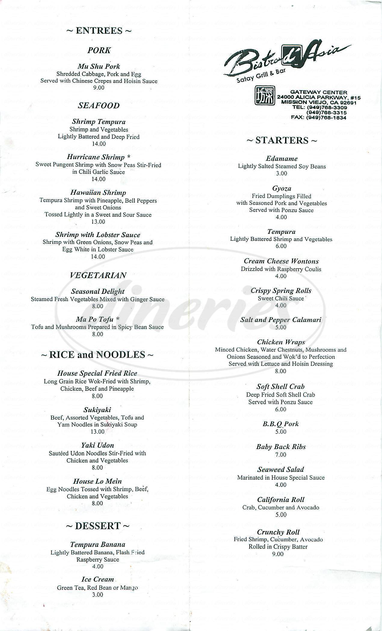 menu for Bistro d' Asia