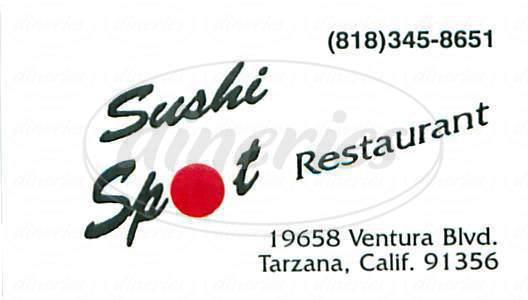 menu for Sushi Spot Restaurant