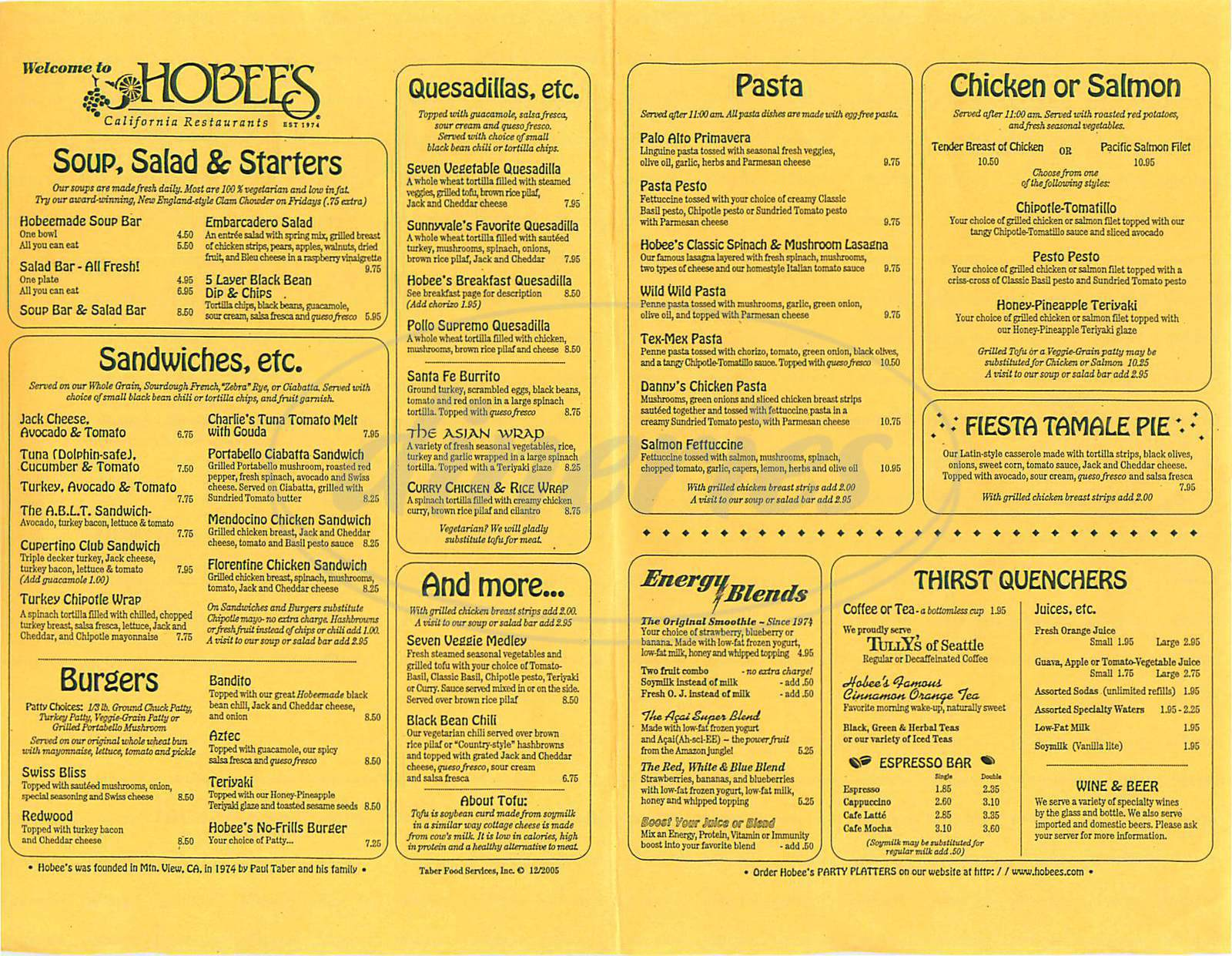 menu for Hobee's California Restaurant