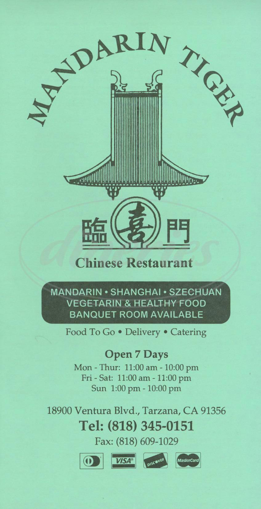 menu for Mandarin Tiger Restaurant