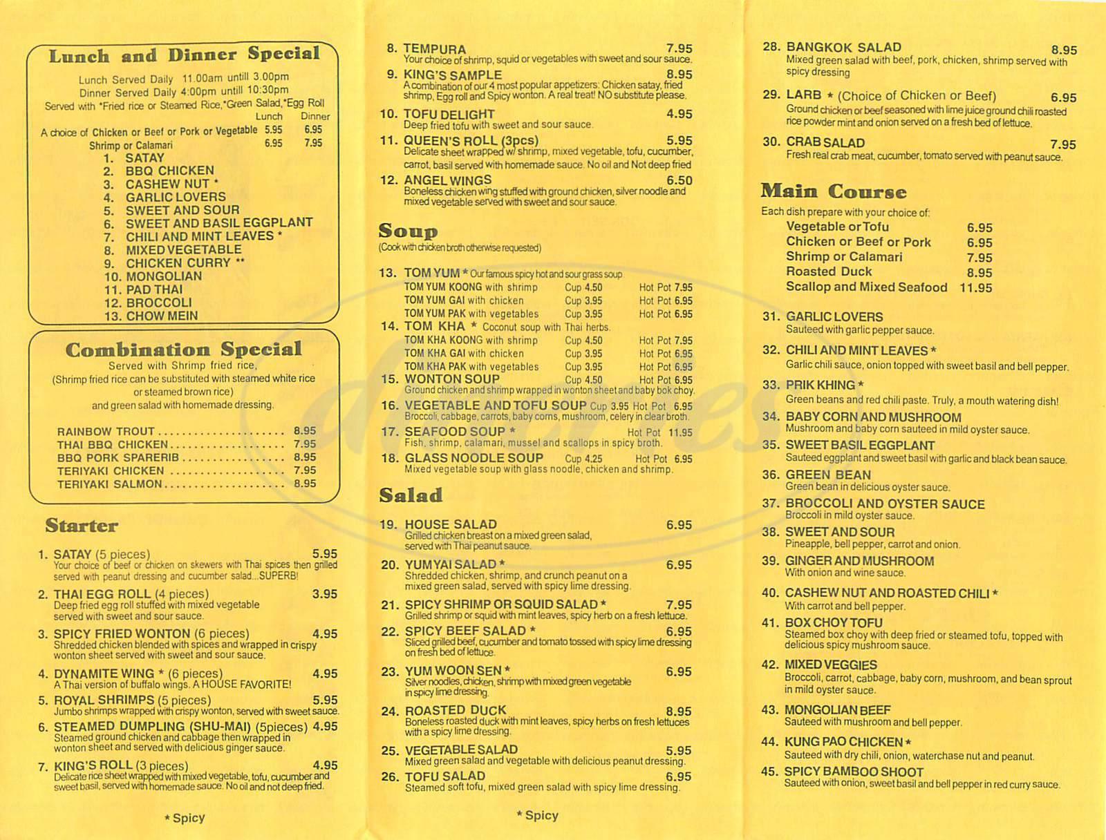 menu for Kings Thai Food