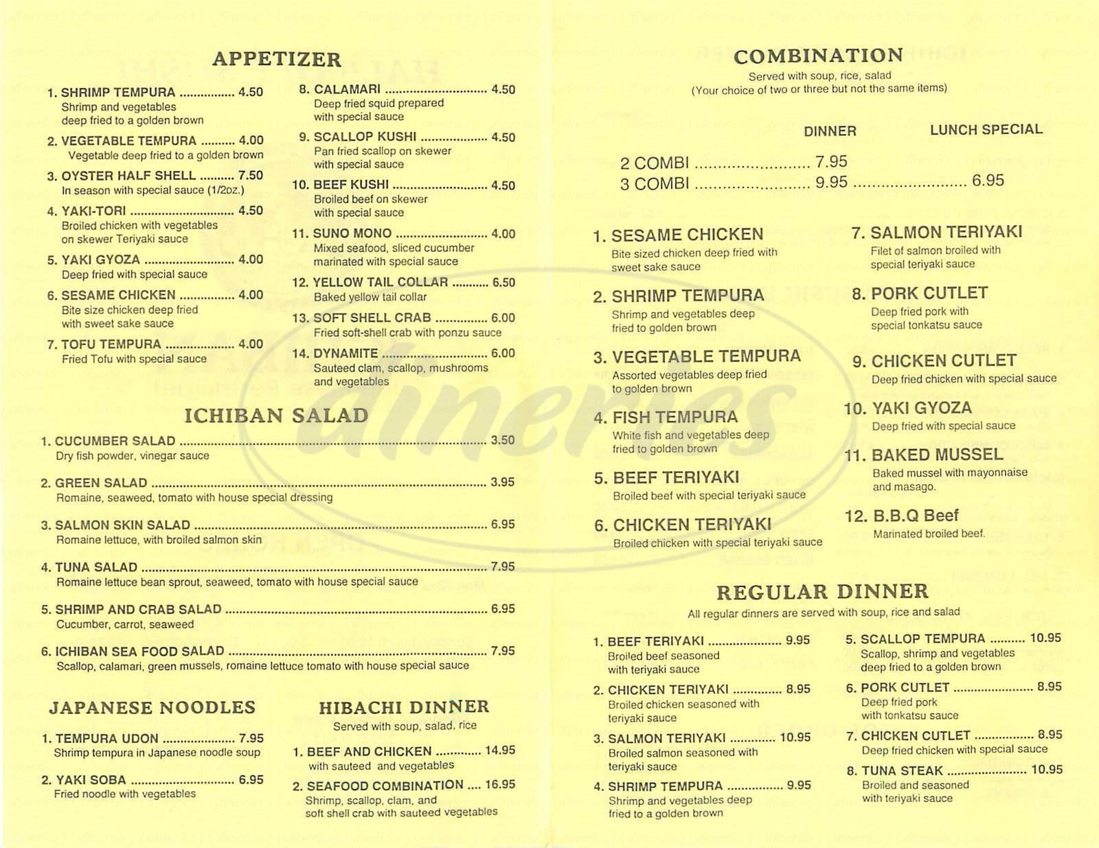 menu for Ichiban