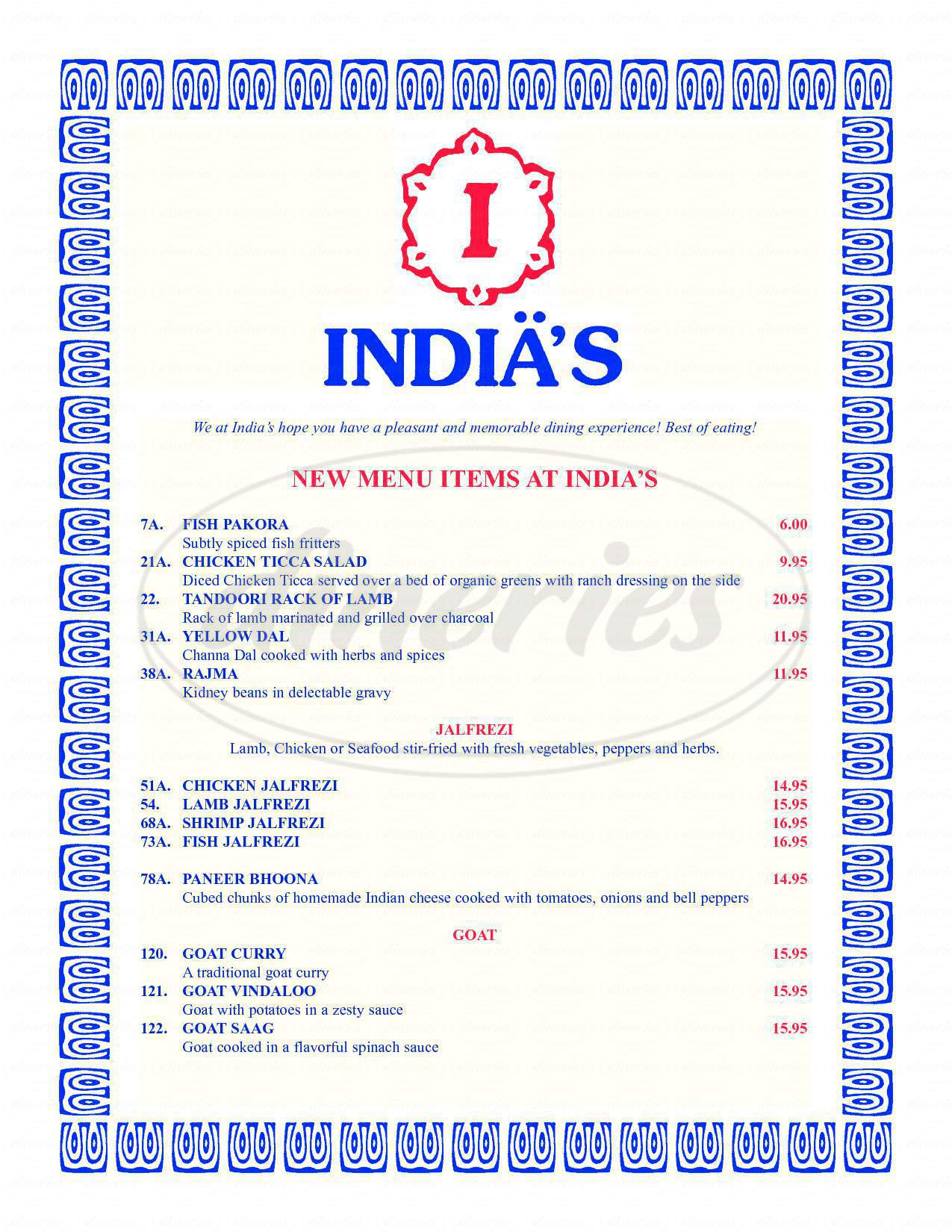 menu for India's Restaurant