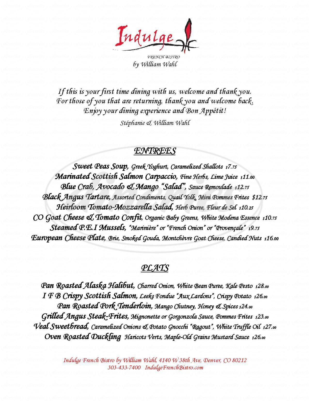menu for Indulge French Bistro