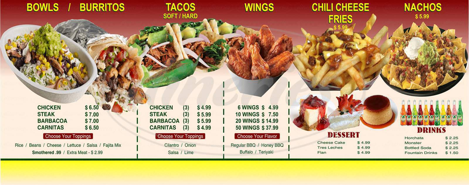 menu for Jalapeno Express