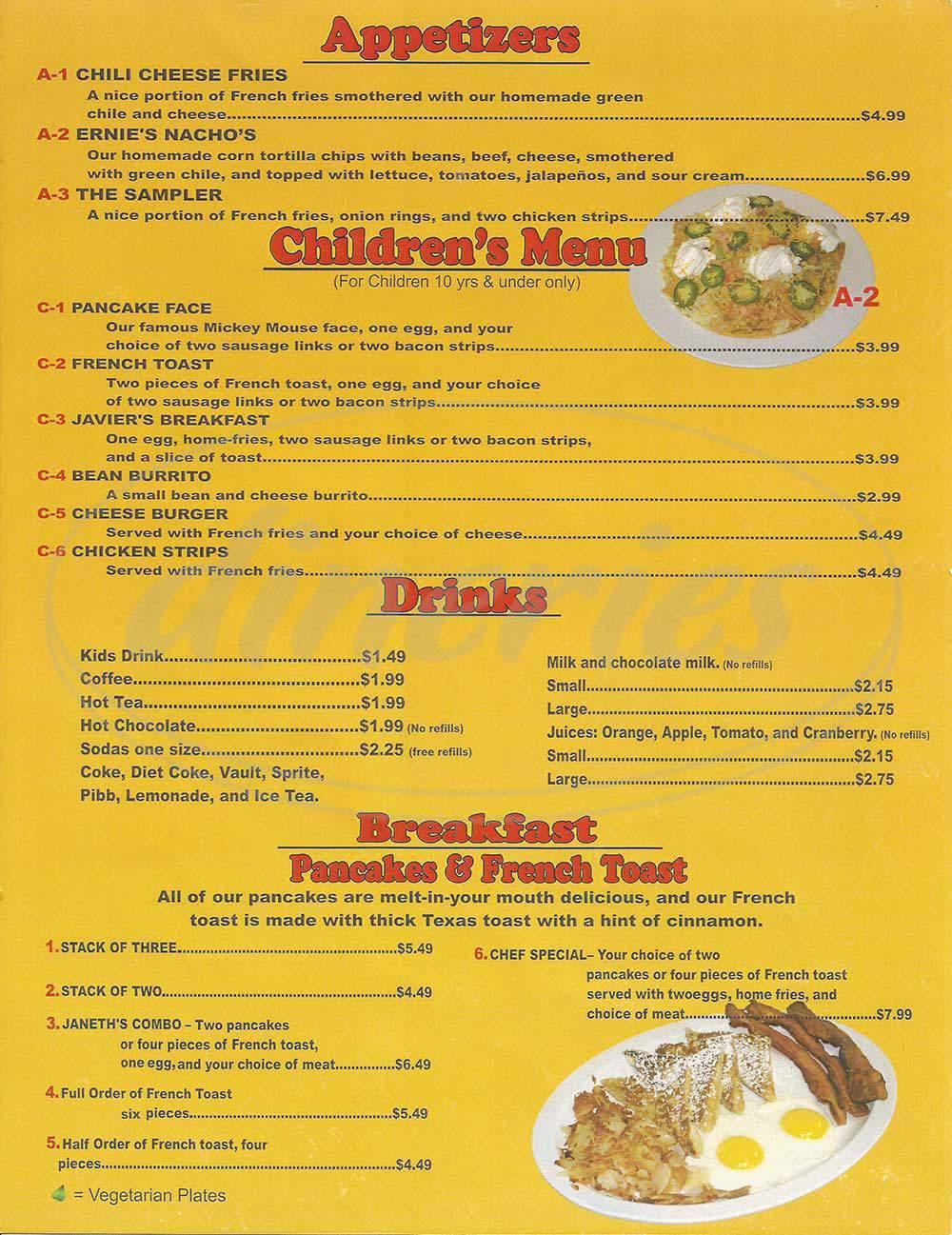 menu for Javier's Diner
