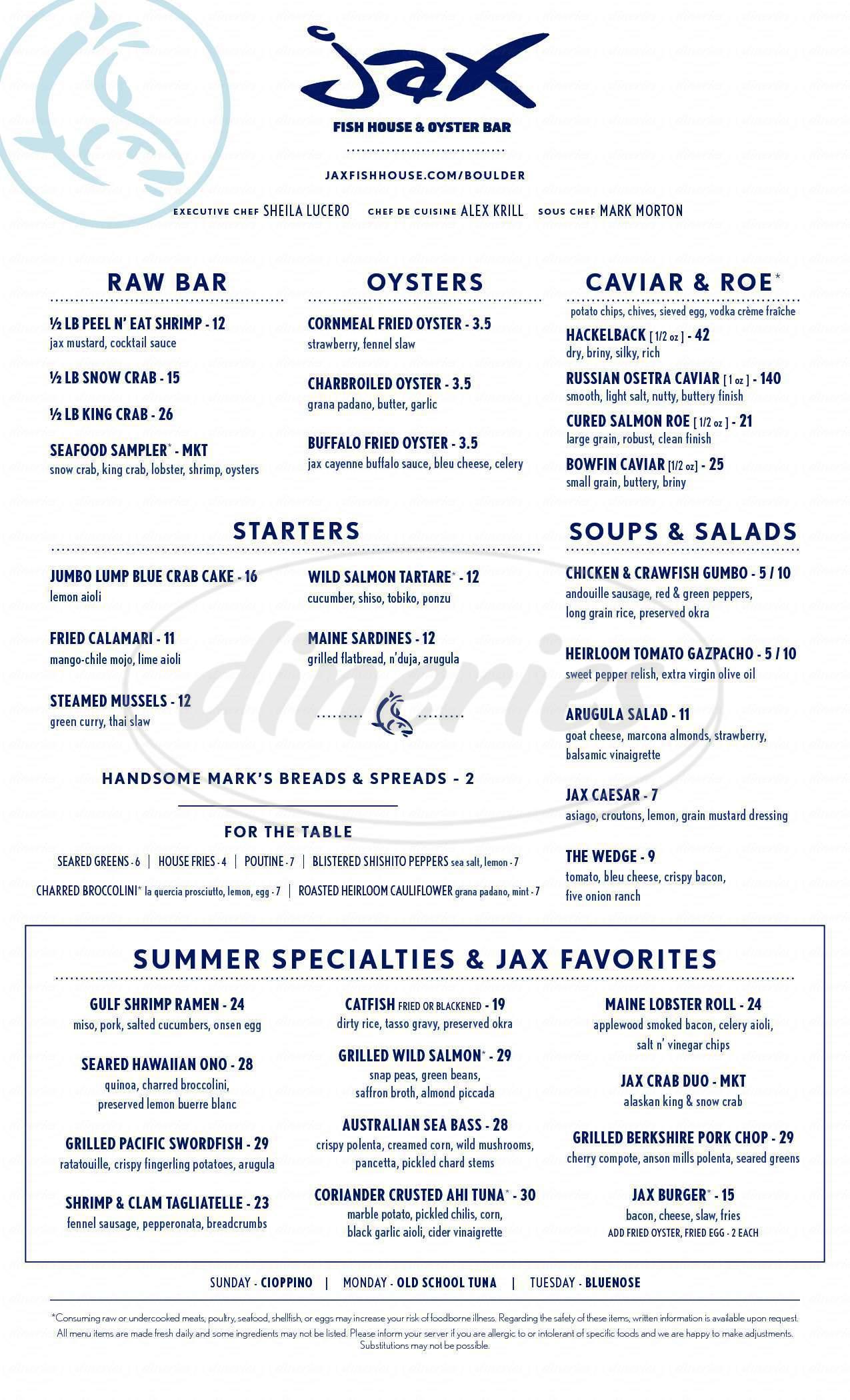 menu for Jax Fish House