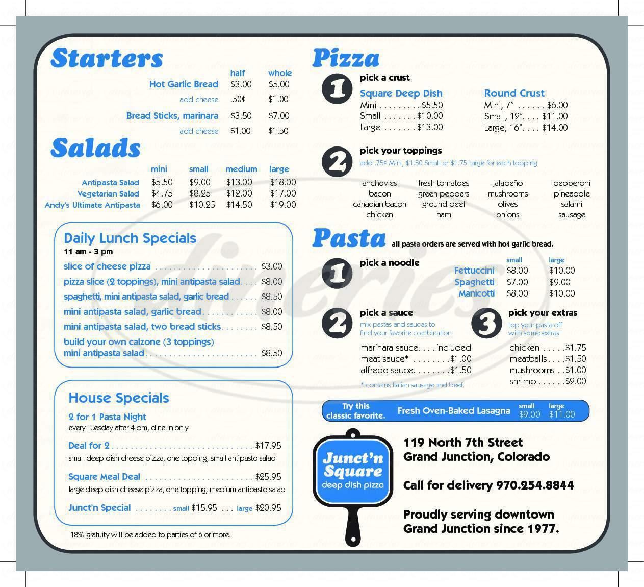 menu for Junct'n SquarePizza
