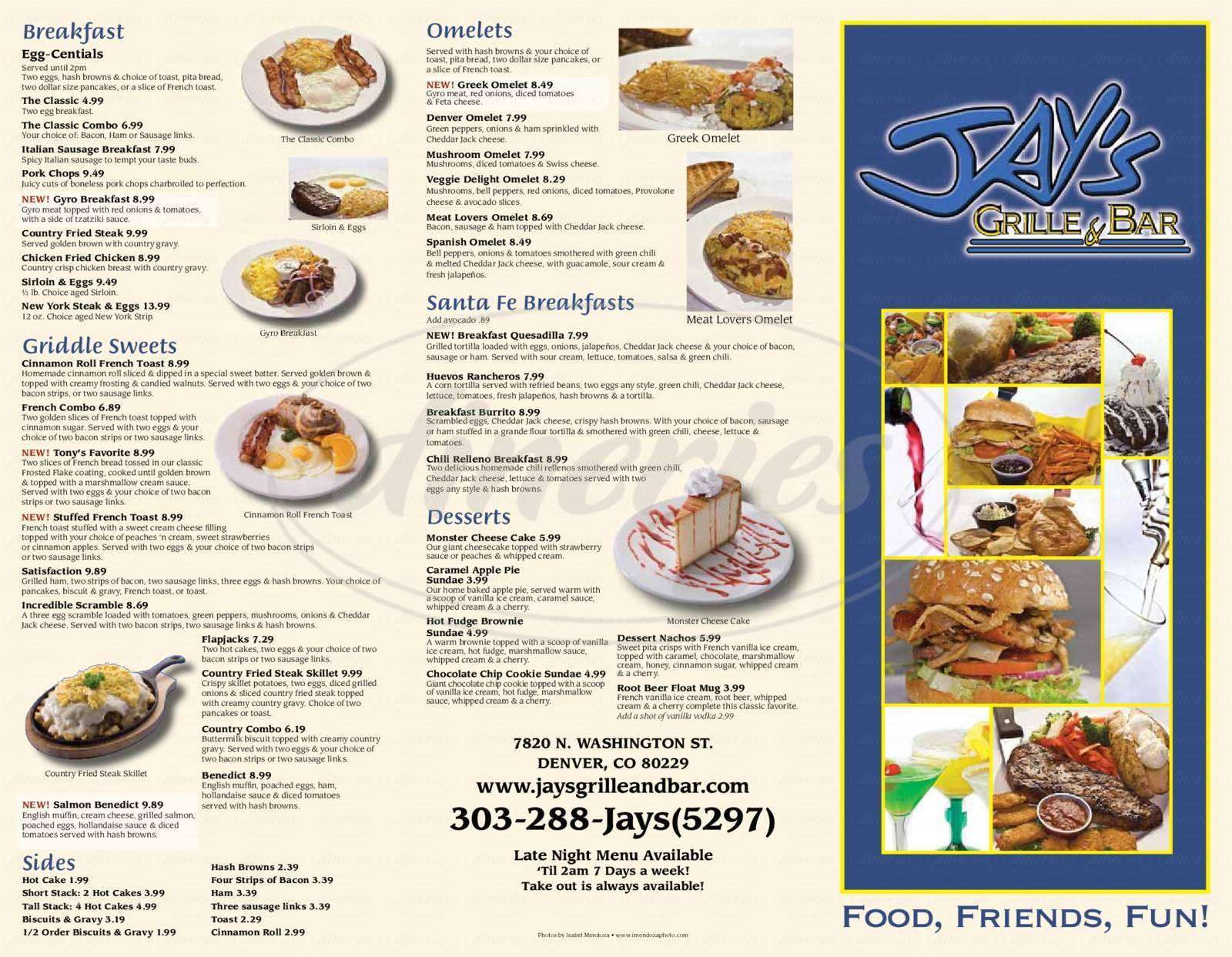 menu for Jay's Grille & Bar