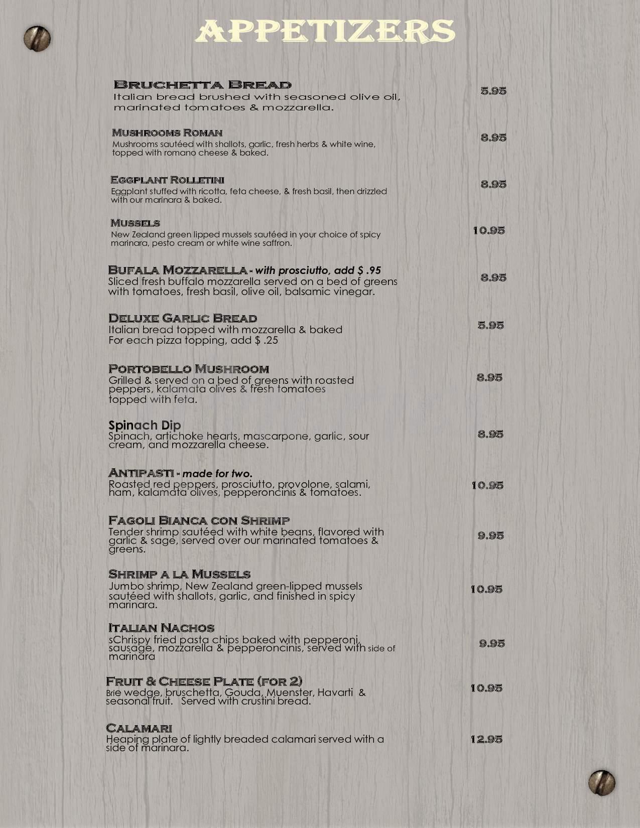 menu for J J Madwell's