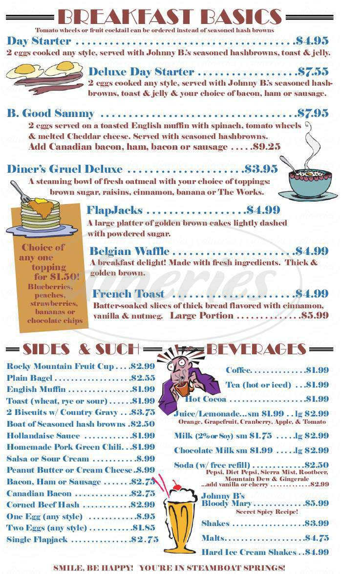 menu for Johnny B Good's Diner