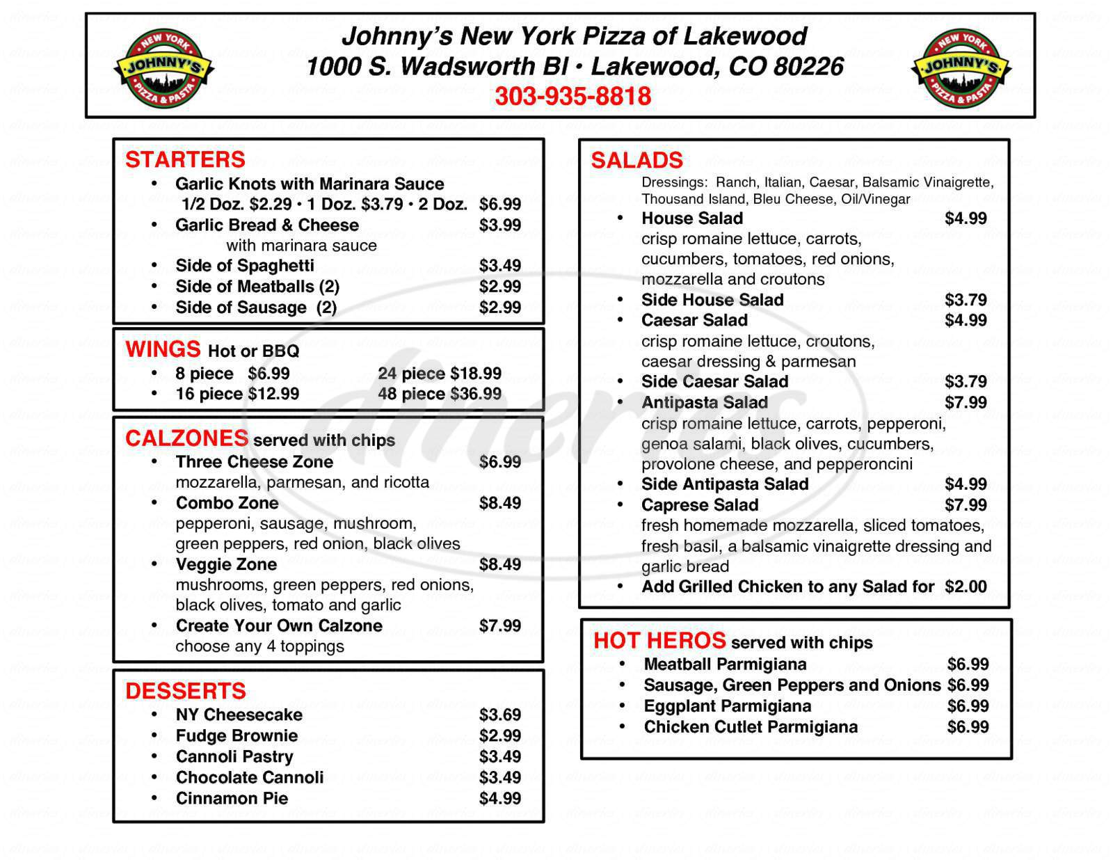 menu for Johnny's New York Pizza