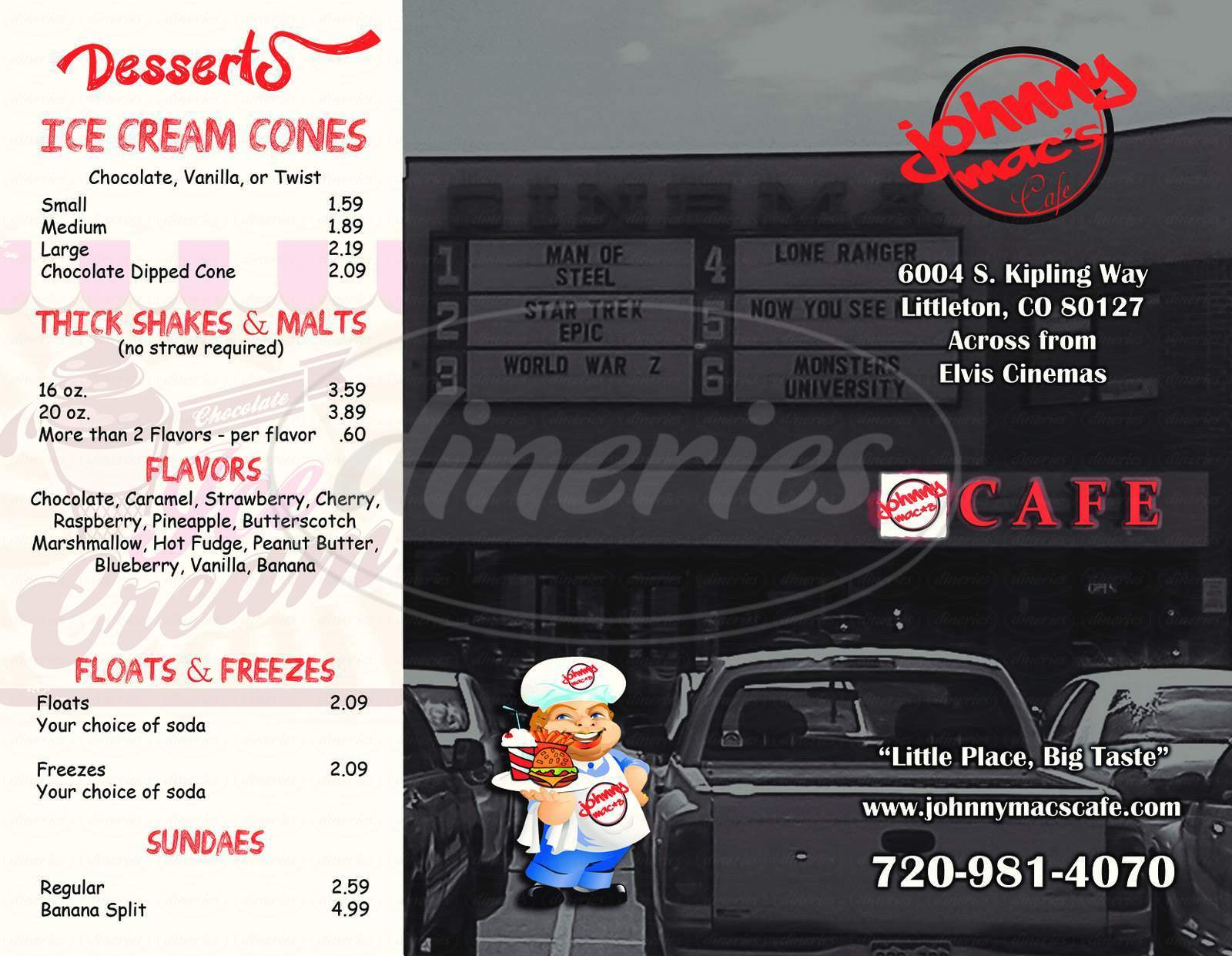 menu for Johnny Mac's Cafe