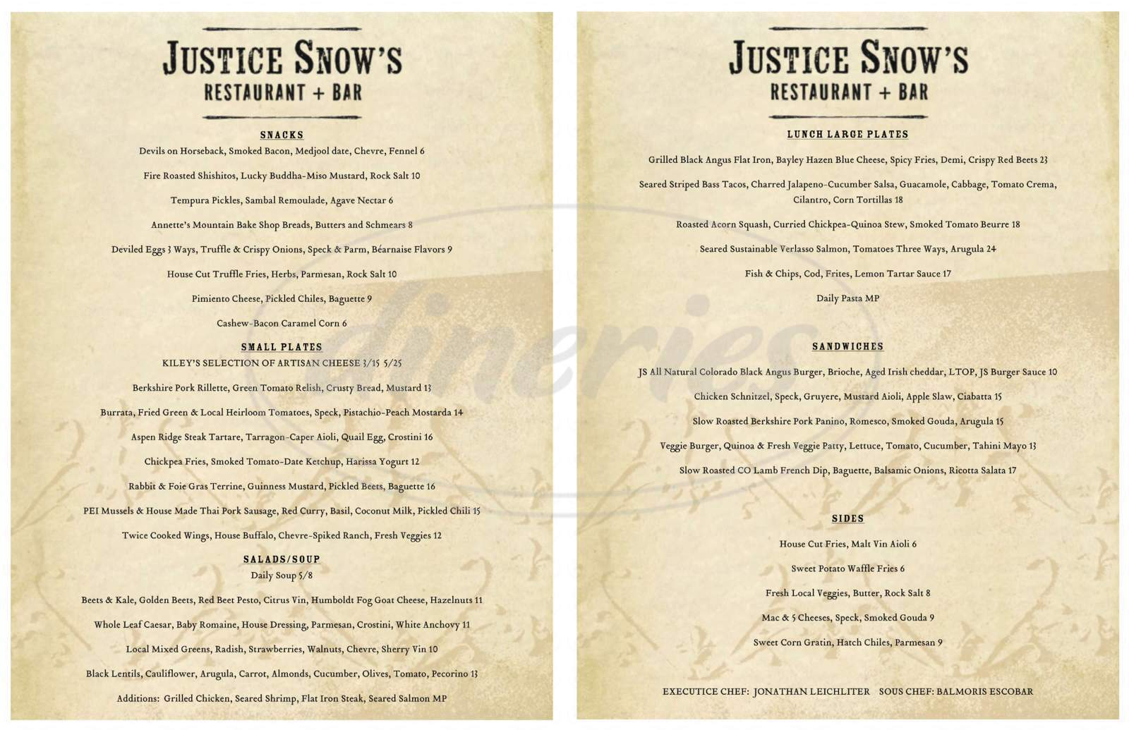 menu for Justice Snow's