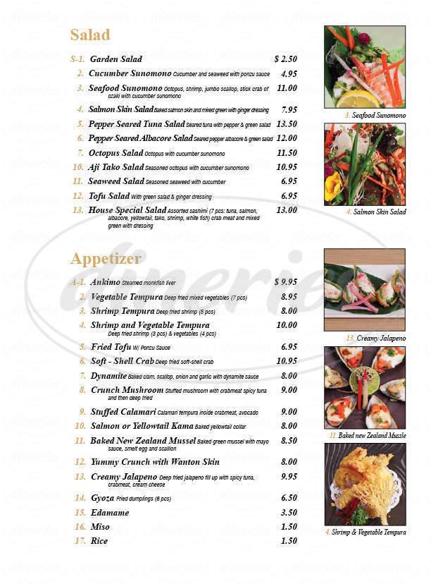 menu for Sushi Katsu