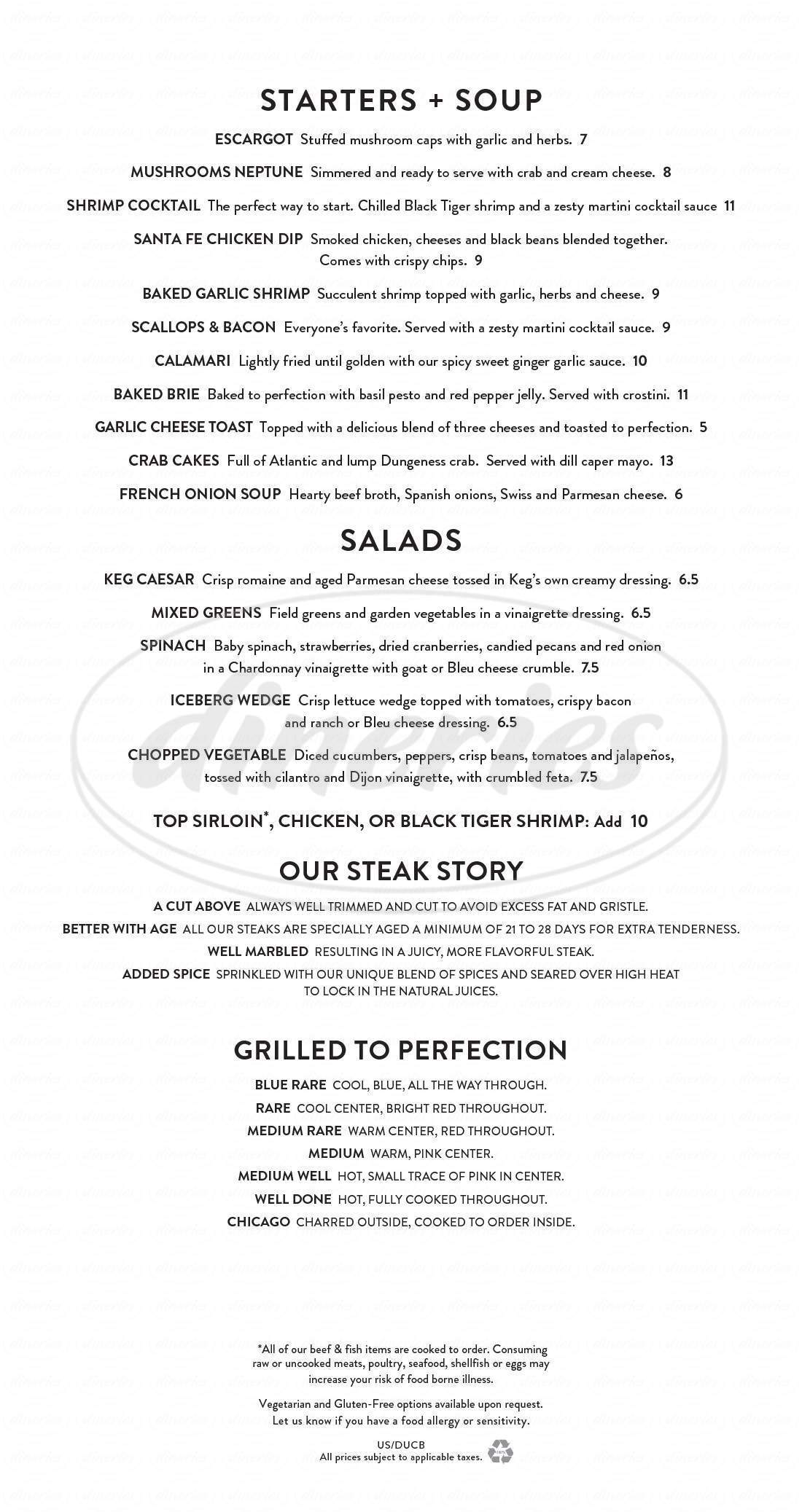 menu for The Keg Steakhouse + Bar