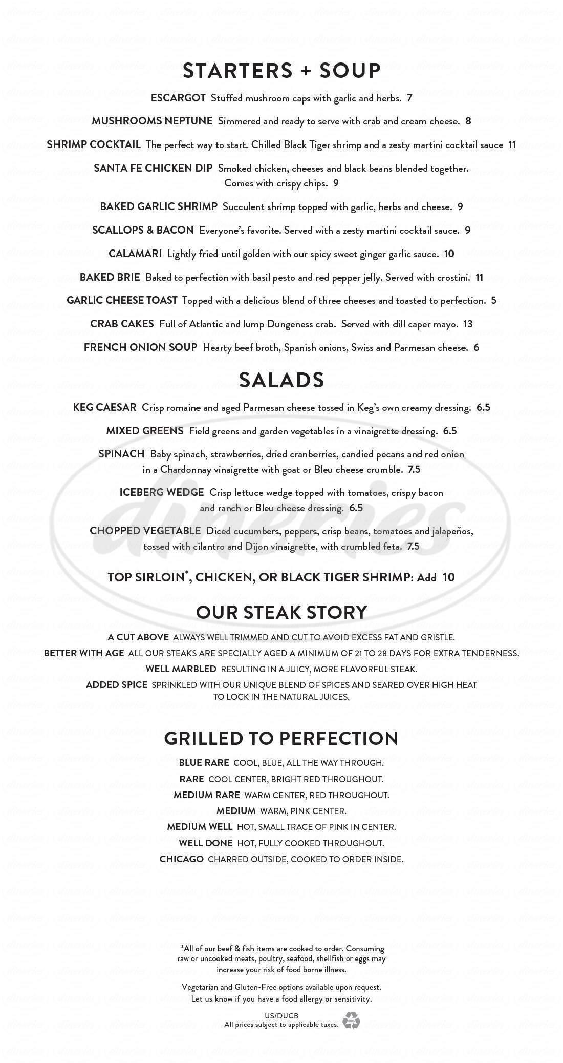 menu for The Keg Steakhouse + Bar