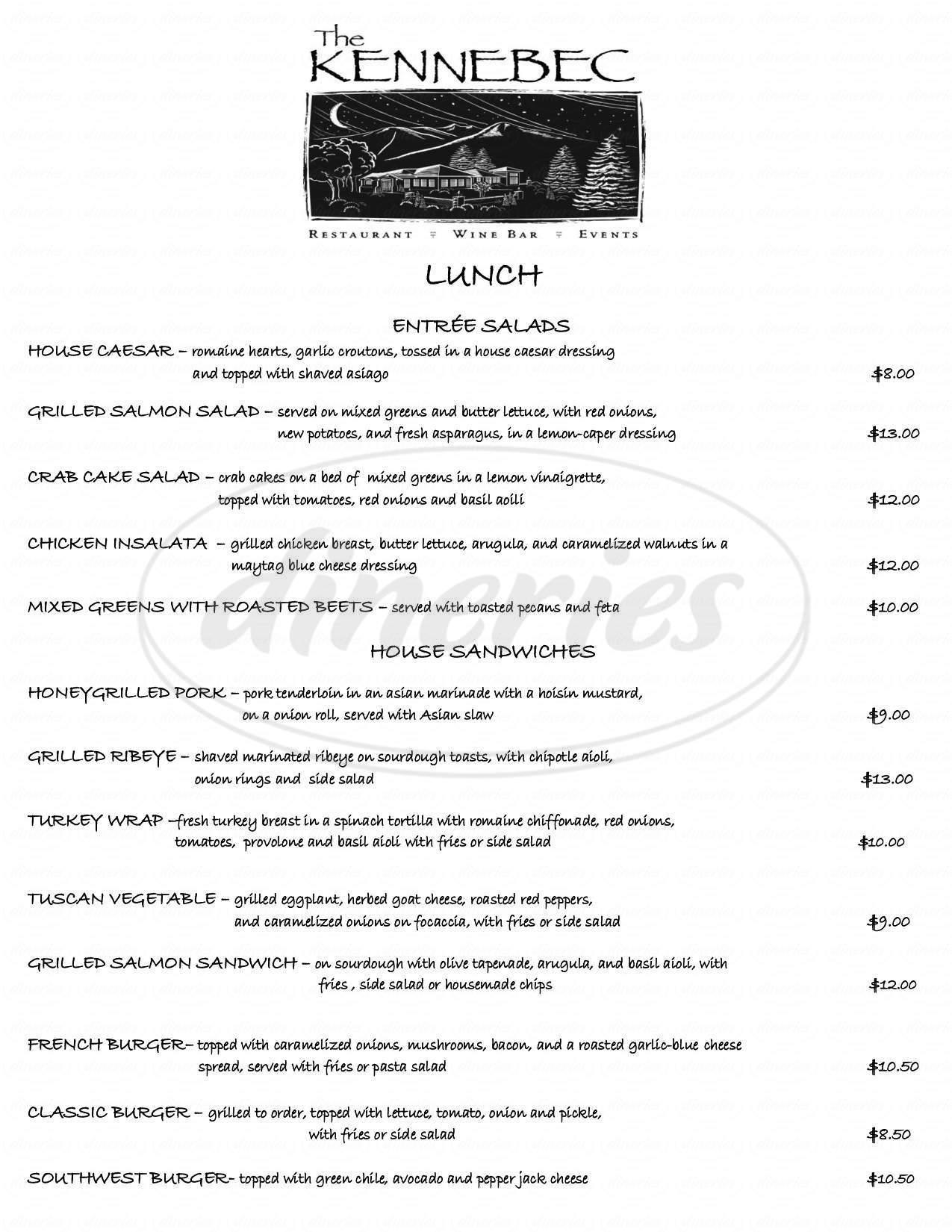 menu for Kennebec Cafe & Bakery