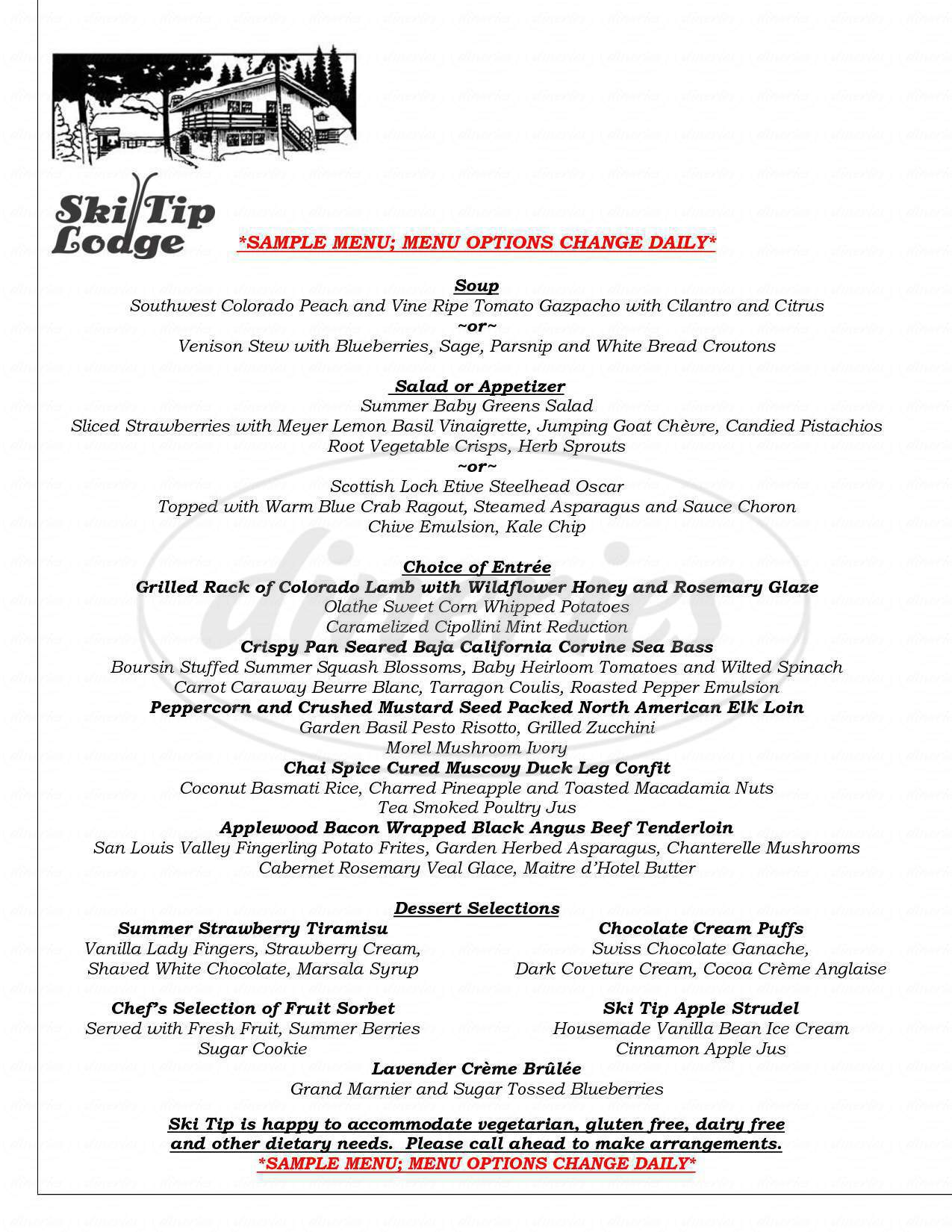 menu for Ski Tip Lodge