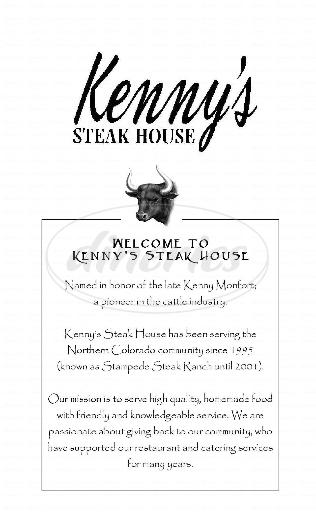 menu for Kenny's Steak House