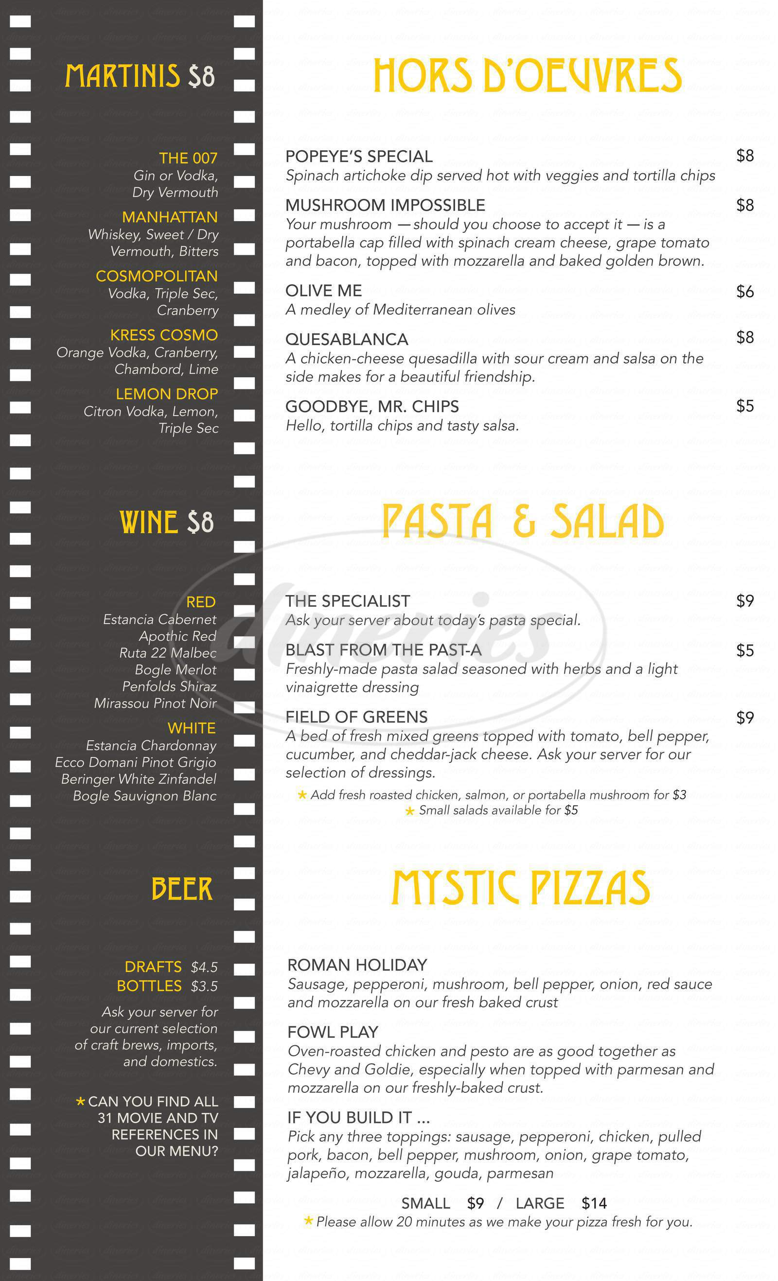 menu for The Kress Cinema & Lounge