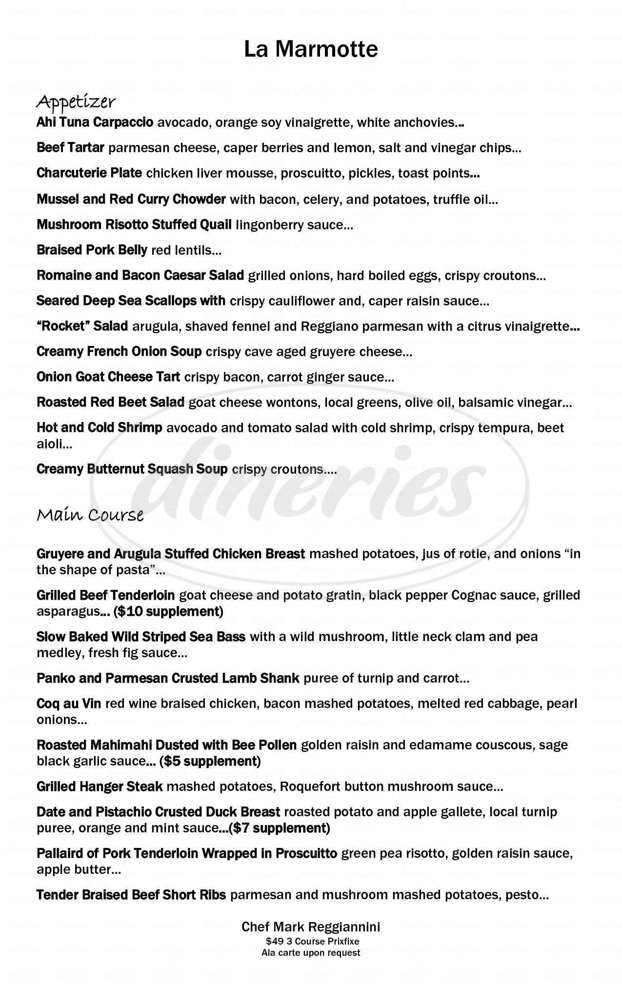 menu for La Marmotte Restaurant Francais