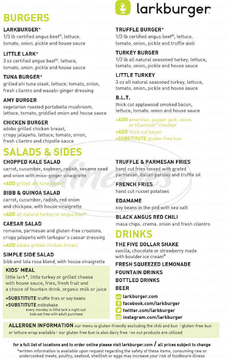 menu for Larkburger