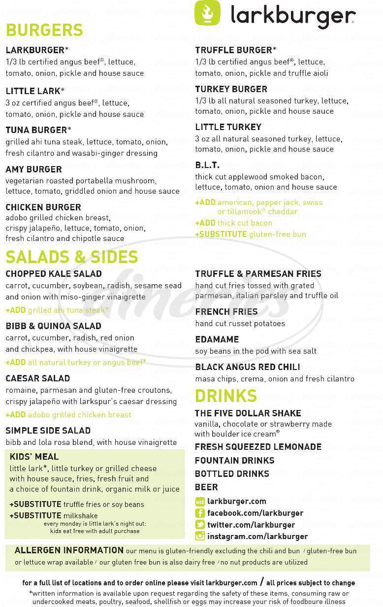 menu for Larkburger
