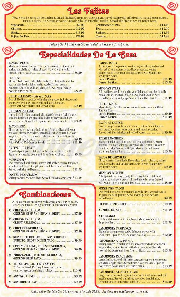 menu for Las Fajitas Mexican Restaurant