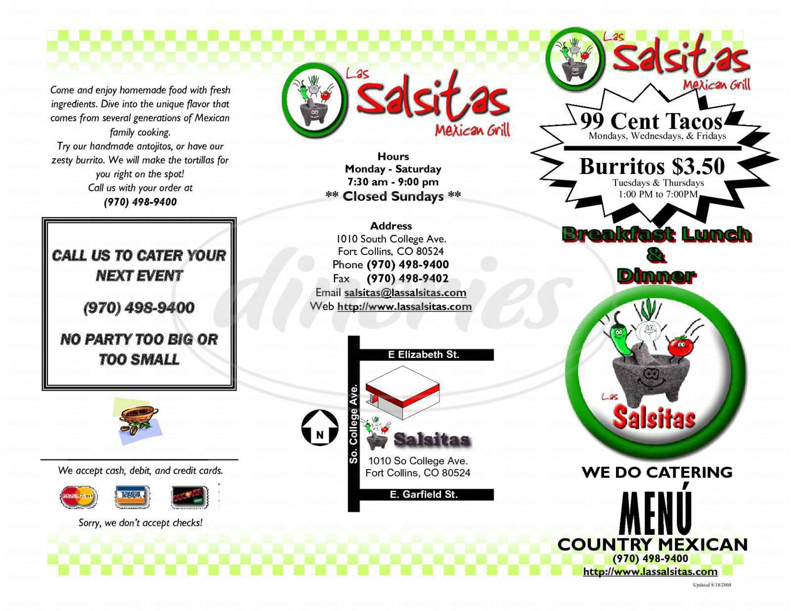 menu for Las Salsitas Mexican Grill