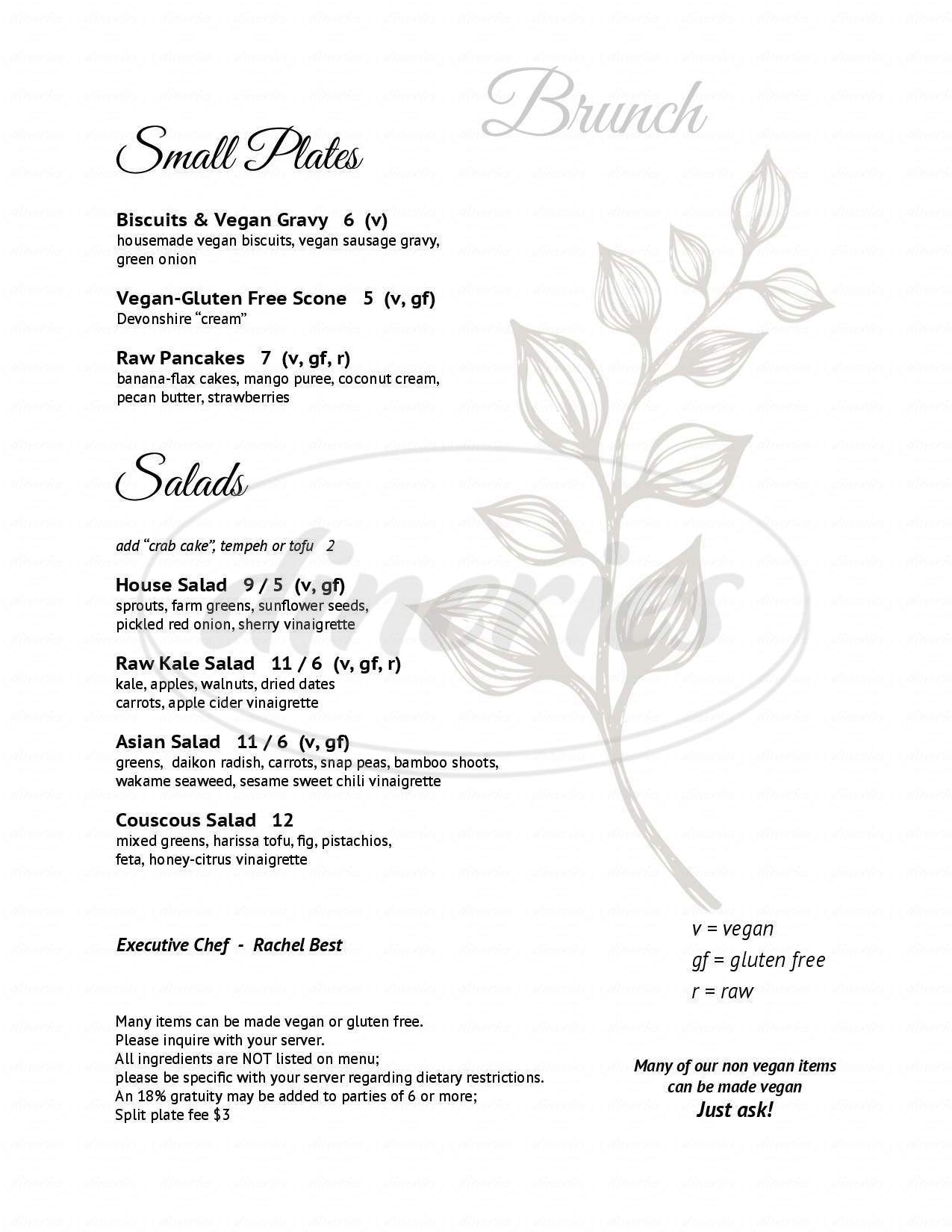 menu for Leaf Vegetarian Restaurant