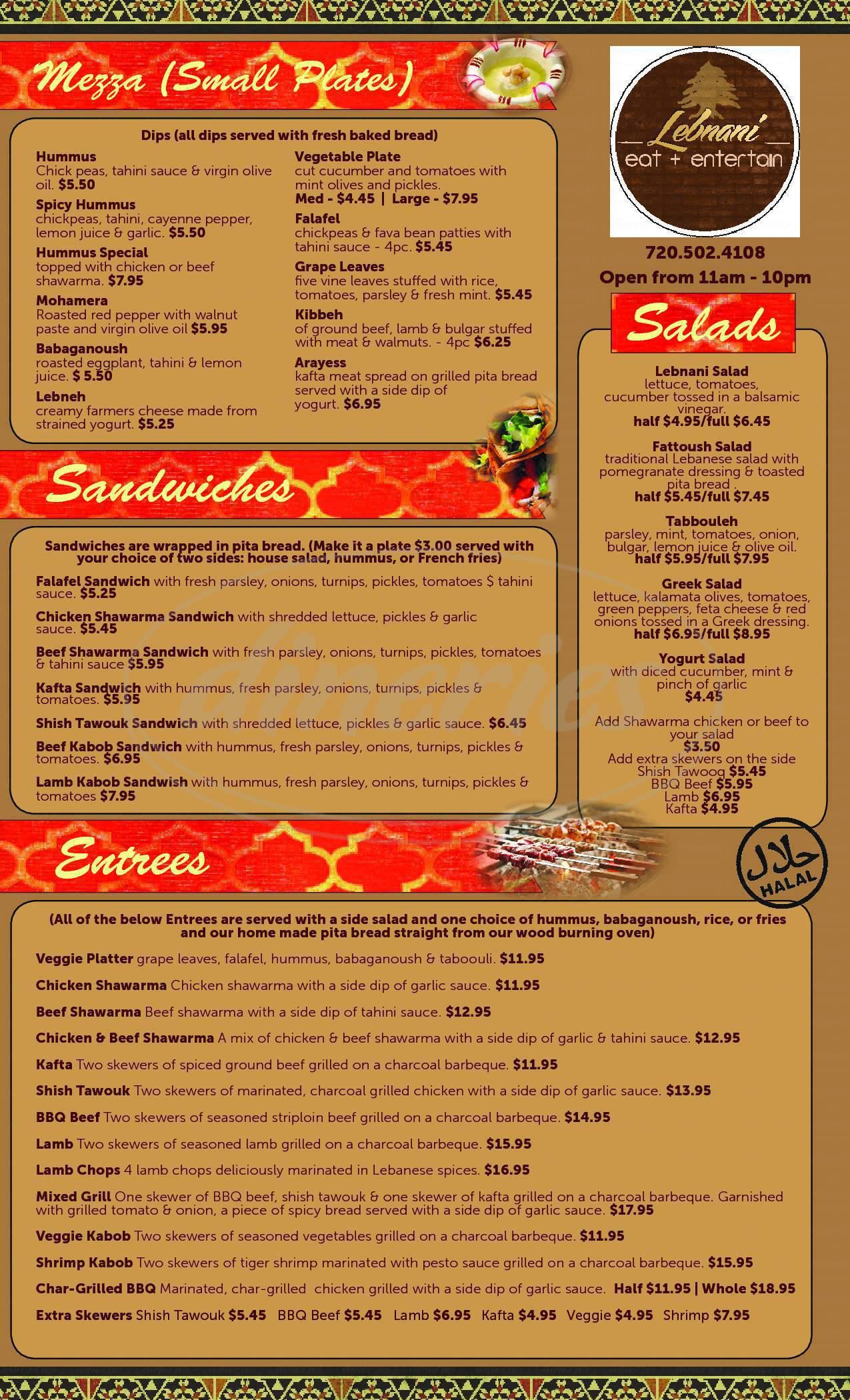 menu for Lebnani