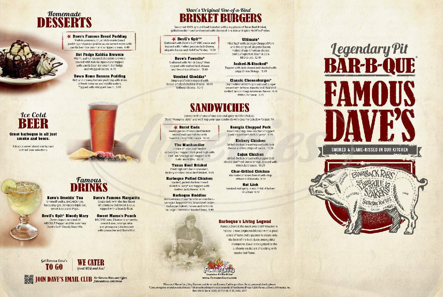 menu for Famous Dave's BBQ
