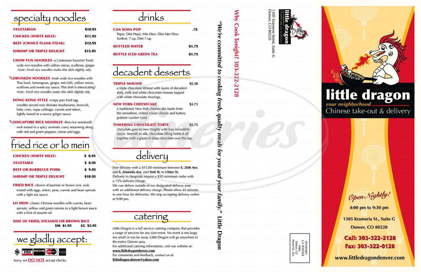 menu for Little Dragon