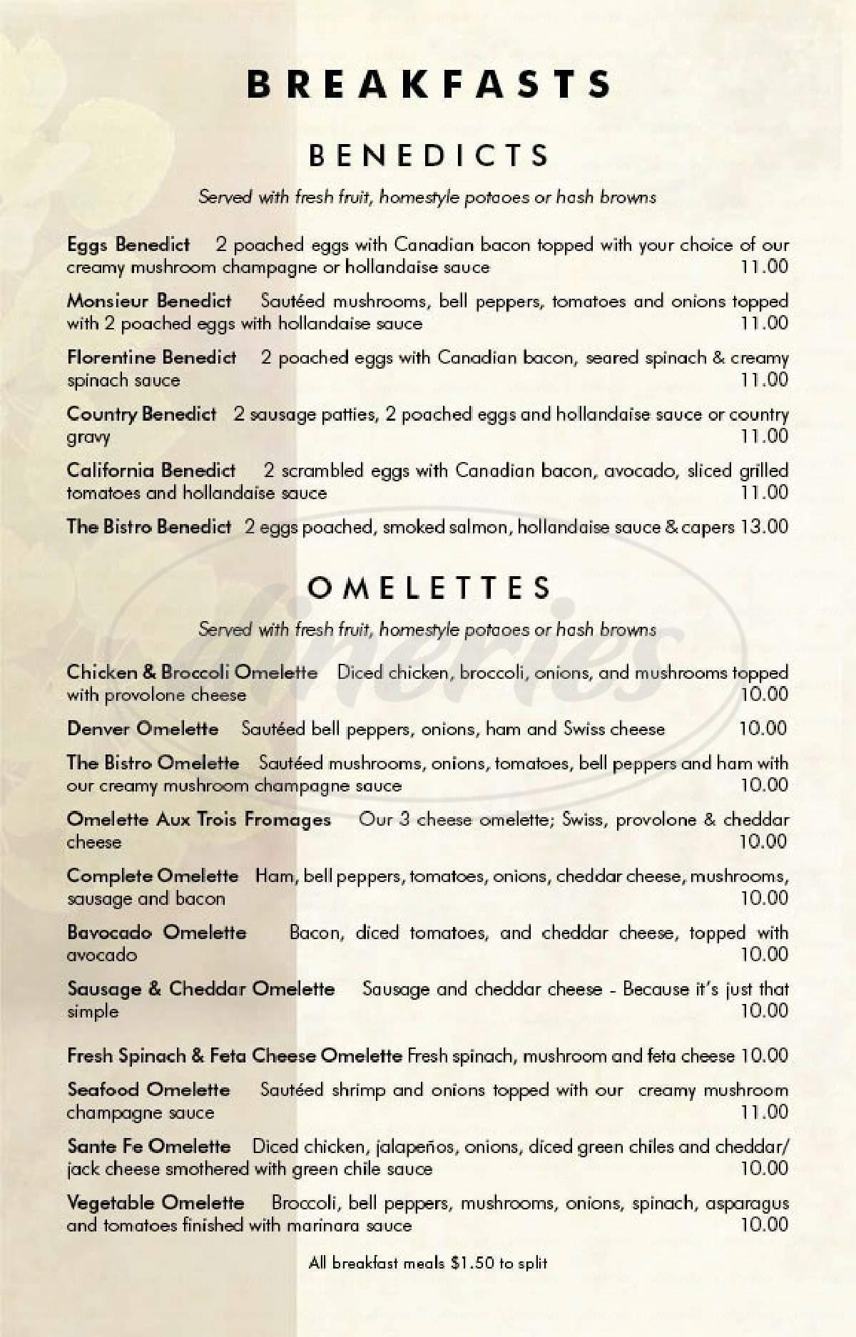 menu for The Bistro at Aspen Grove