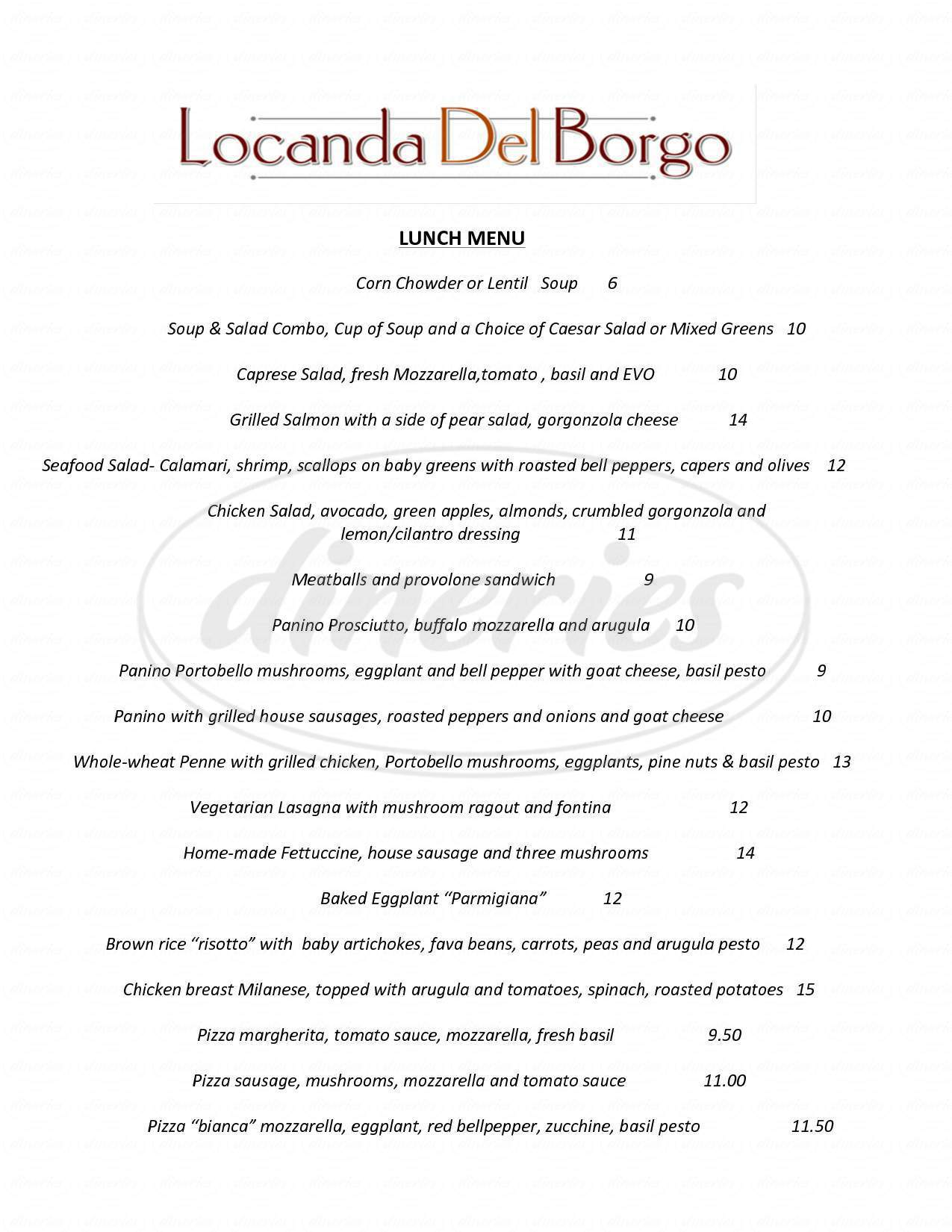 menu for Locanda del Borgo