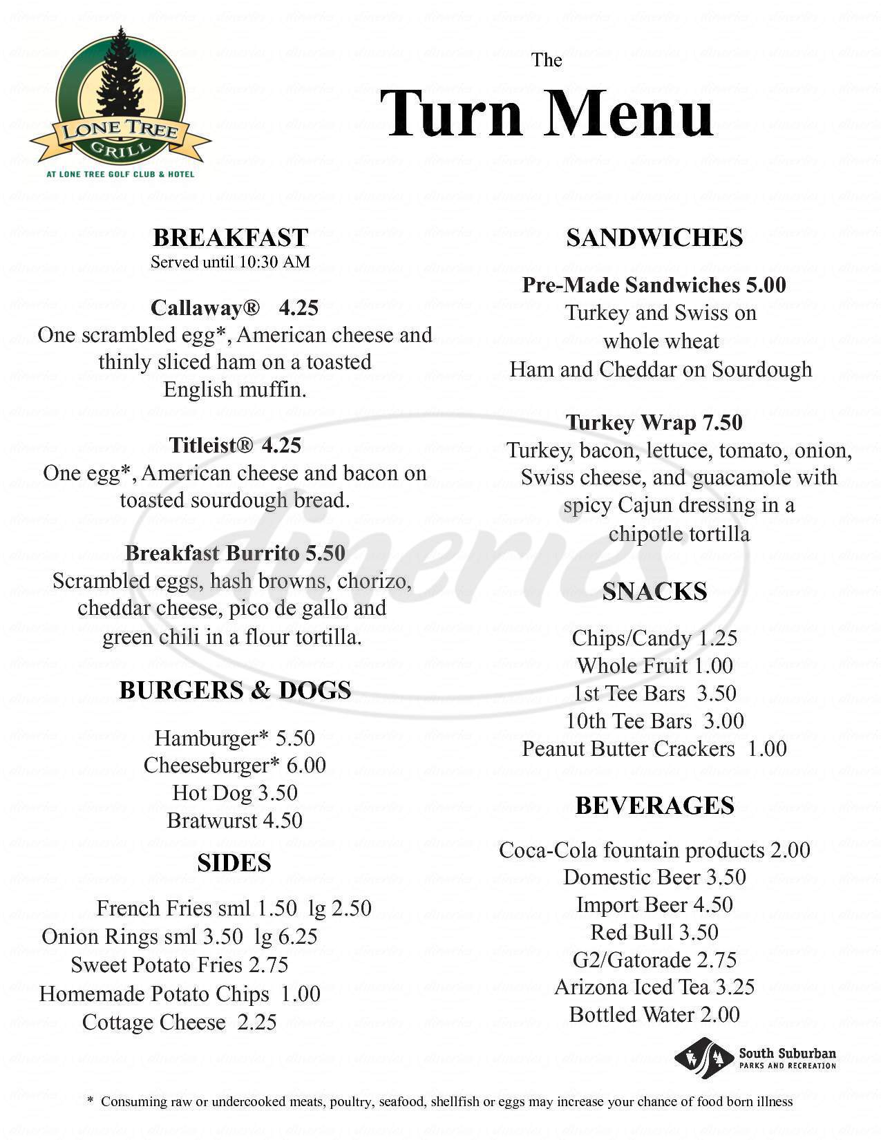 menu for Lonetree Grill