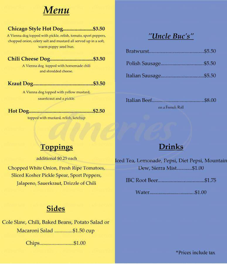 menu for LPs Windy City Hot Dogs