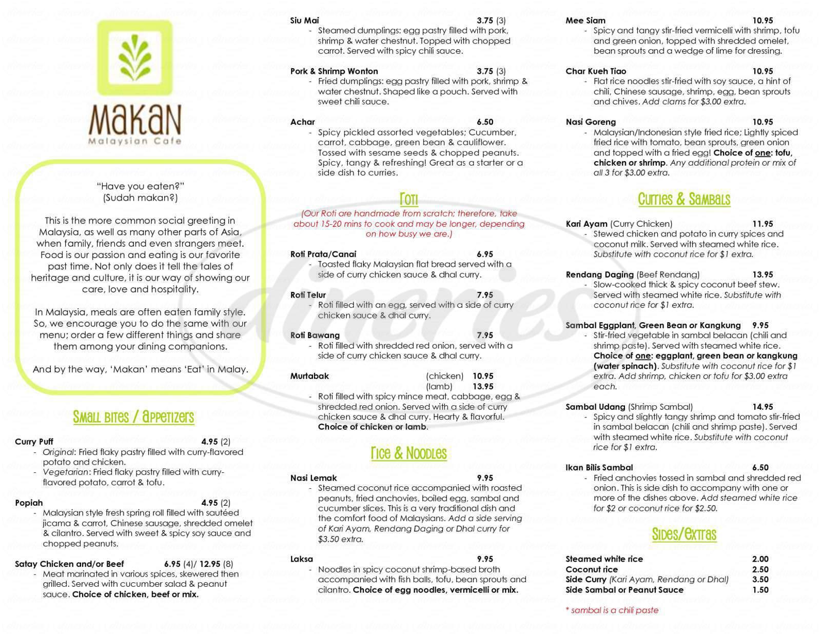 menu for Makan Malaysian Cafe