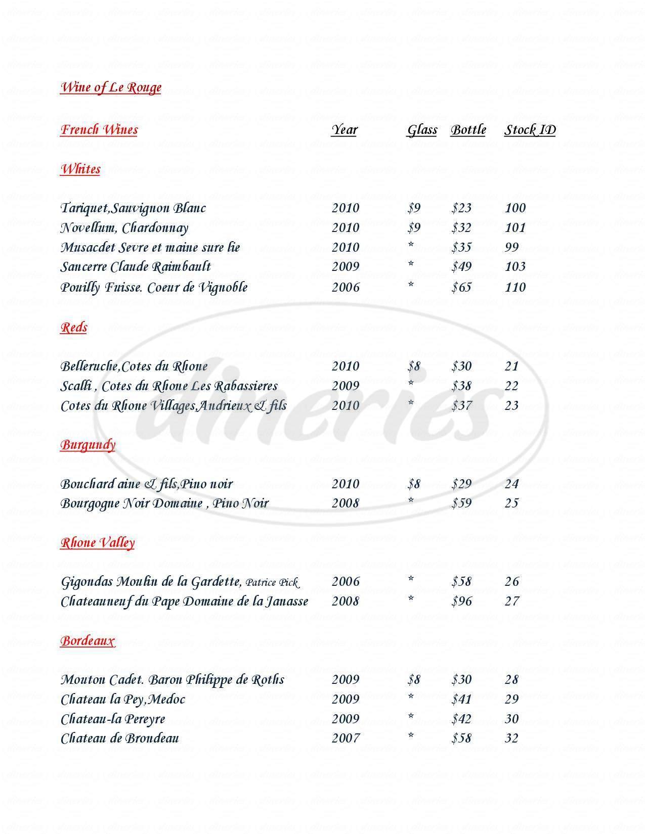 menu for Maison la Belle Vie Winery