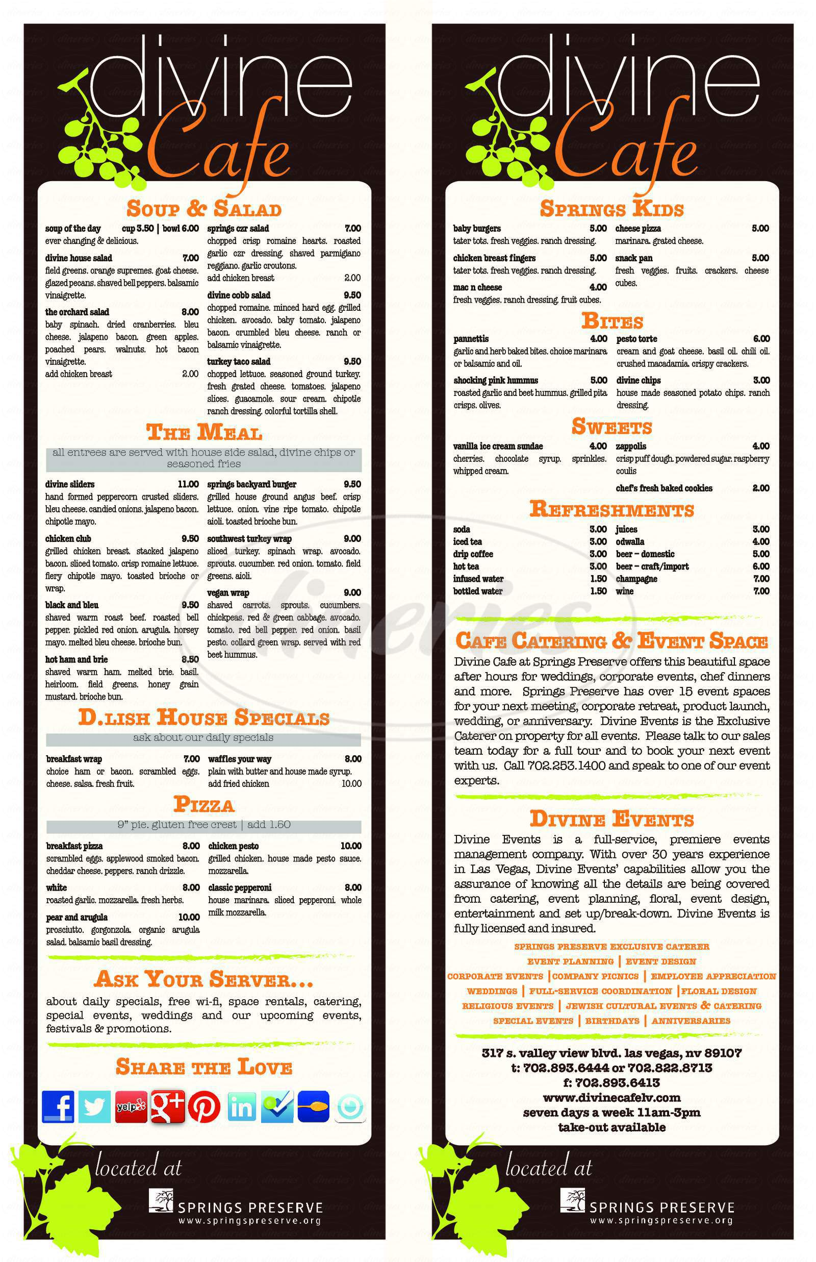 menu for Springs Cafe