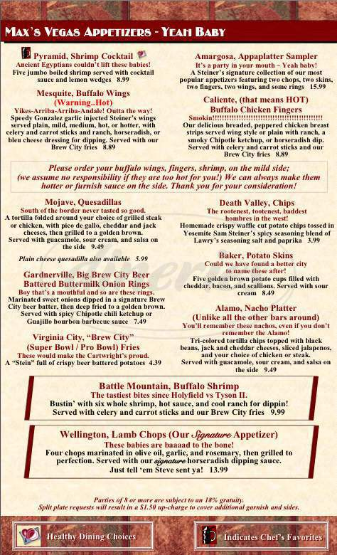 menu for Steiner's A Nevada Style Pub