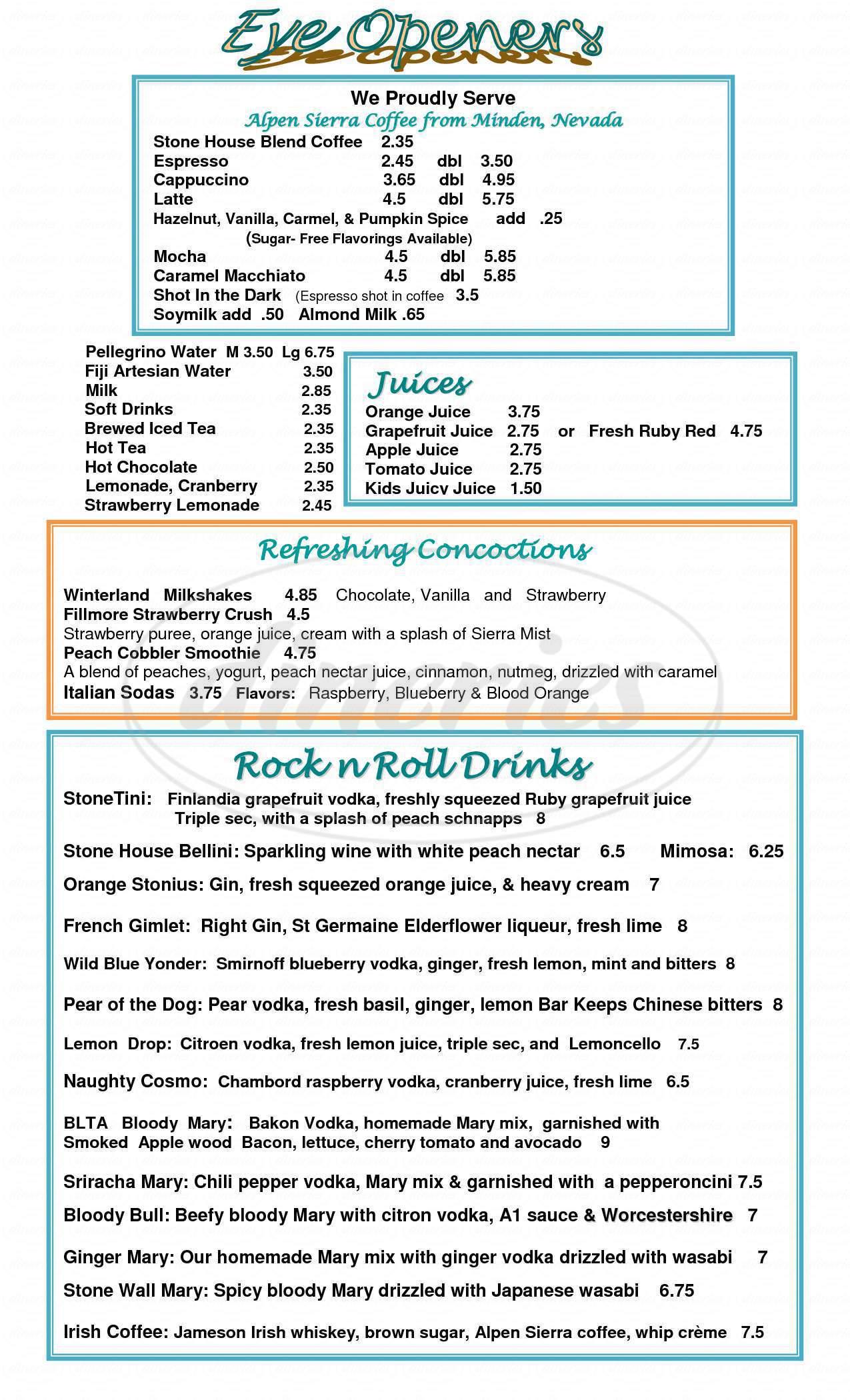 menu for Stone House Cafe