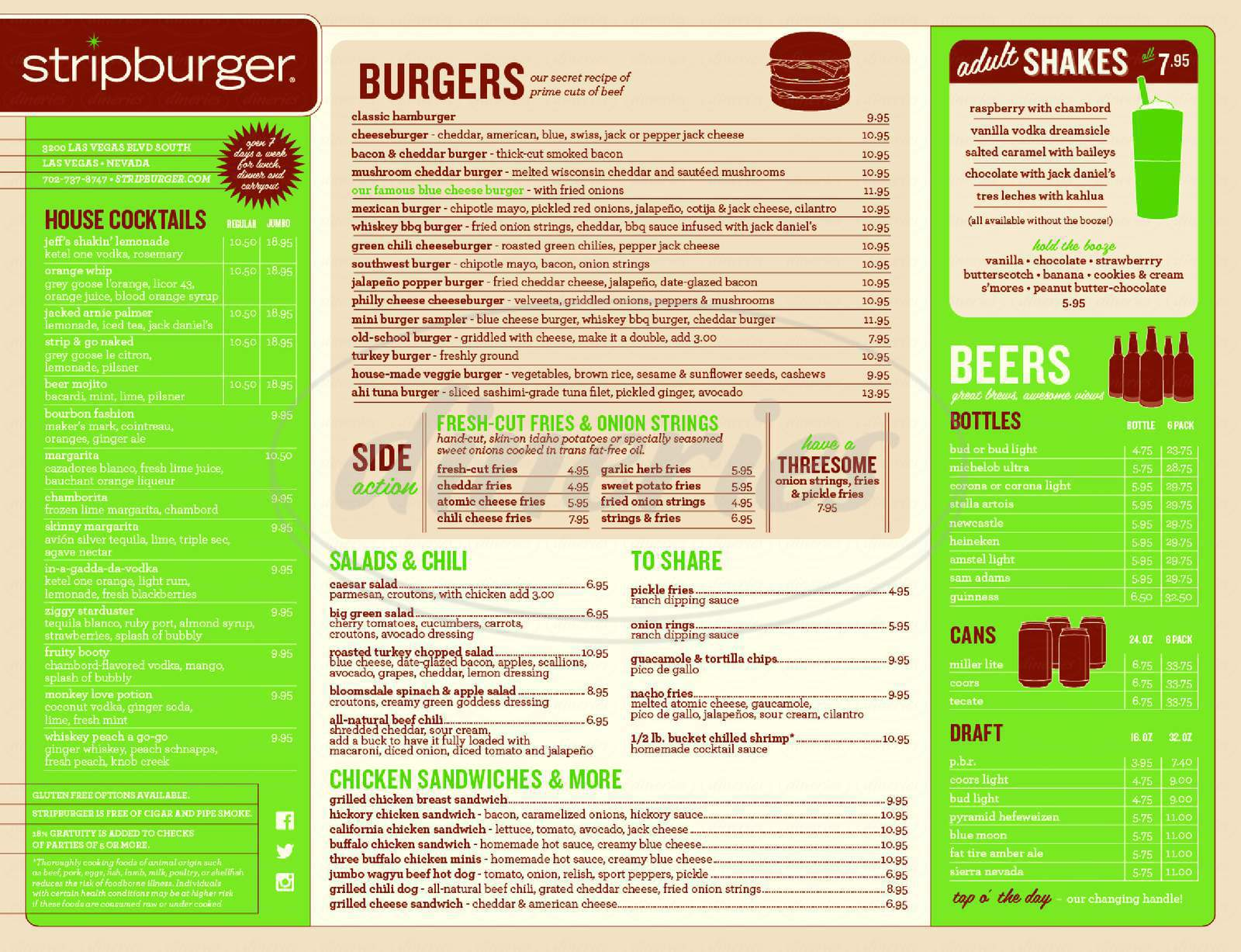 menu for Stripburger