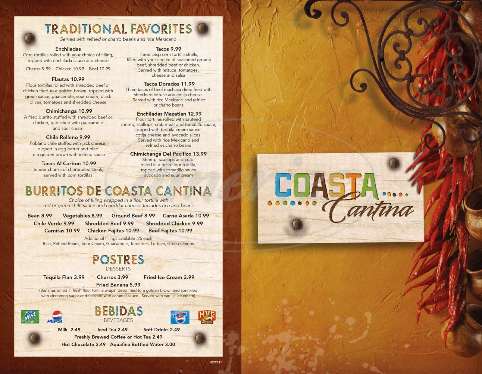 menu for Coasta Cantina
