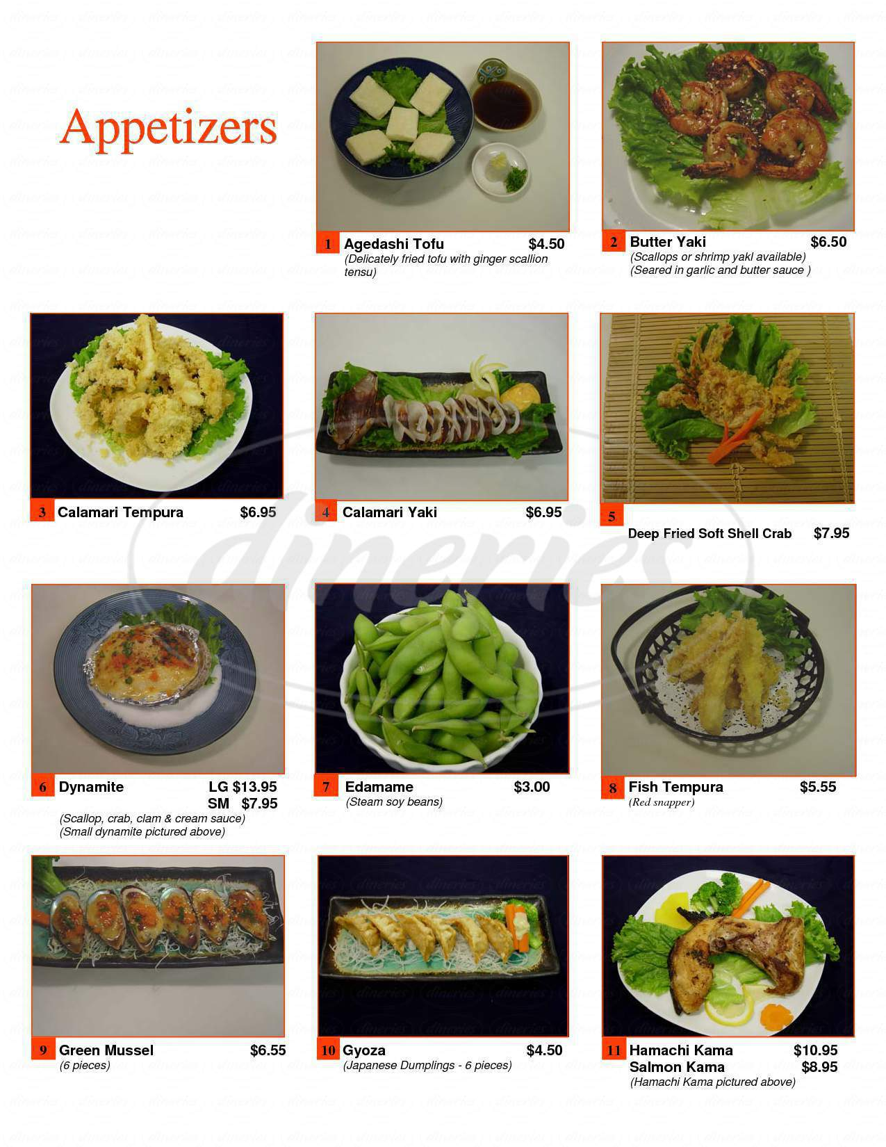 menu for Sushiko