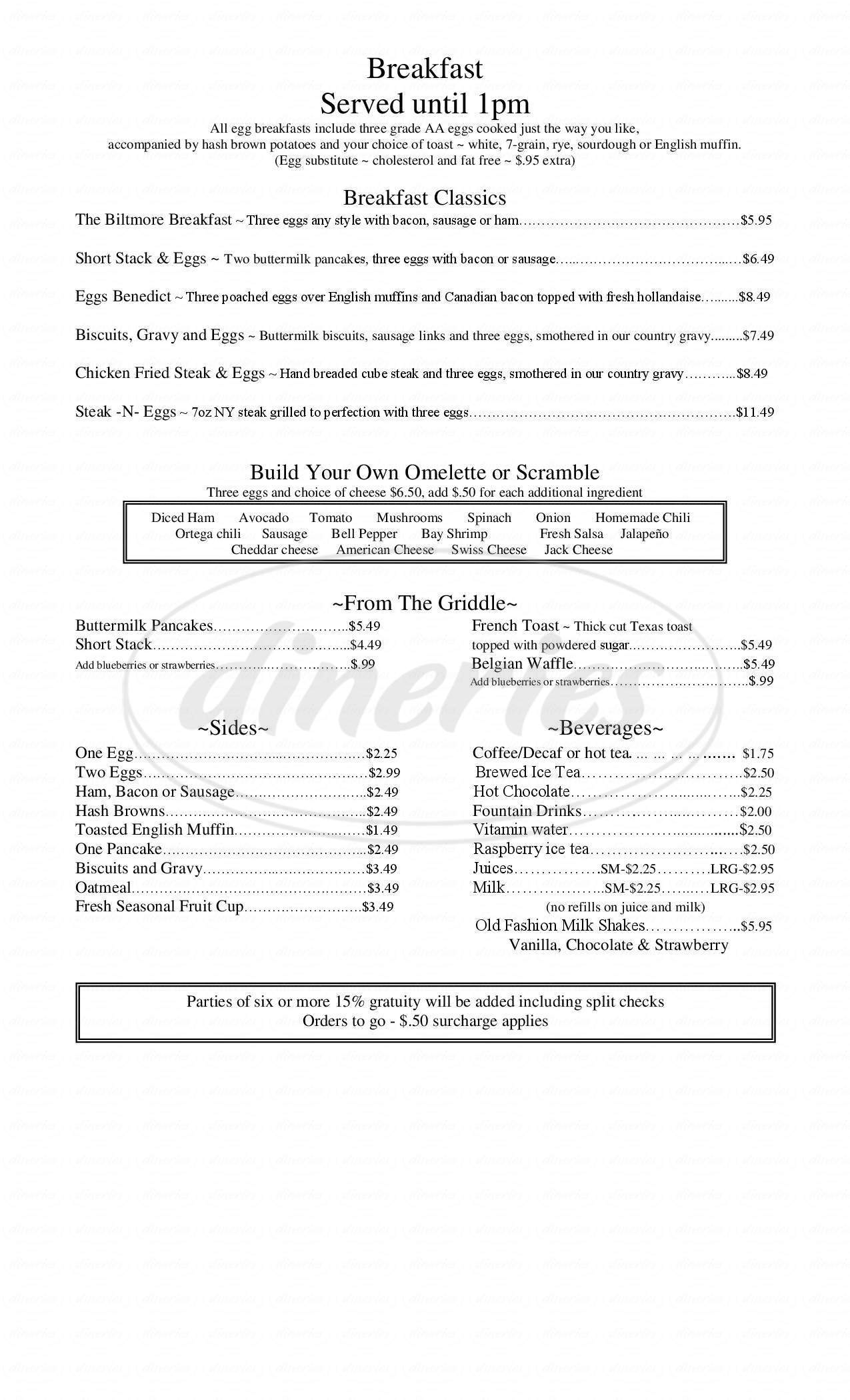menu for Cafe Biltmore