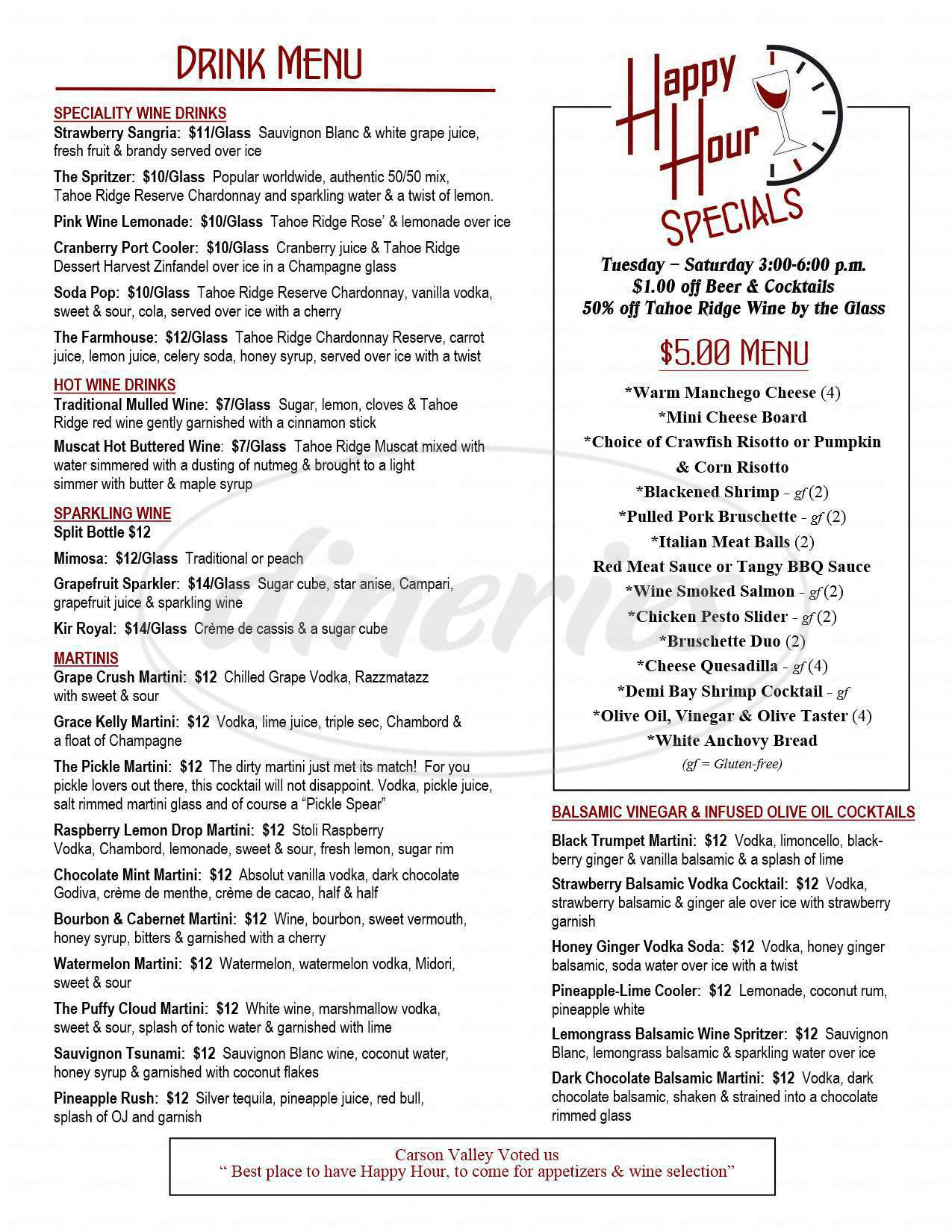 menu for Tahoe Ridge Bistro