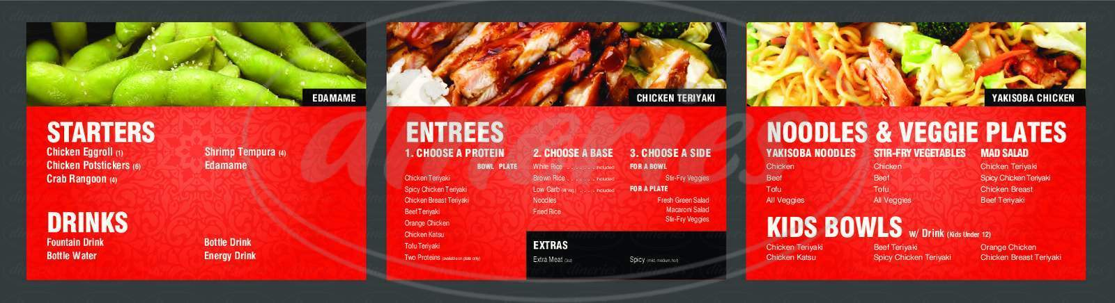 menu for Teriyaki Madness