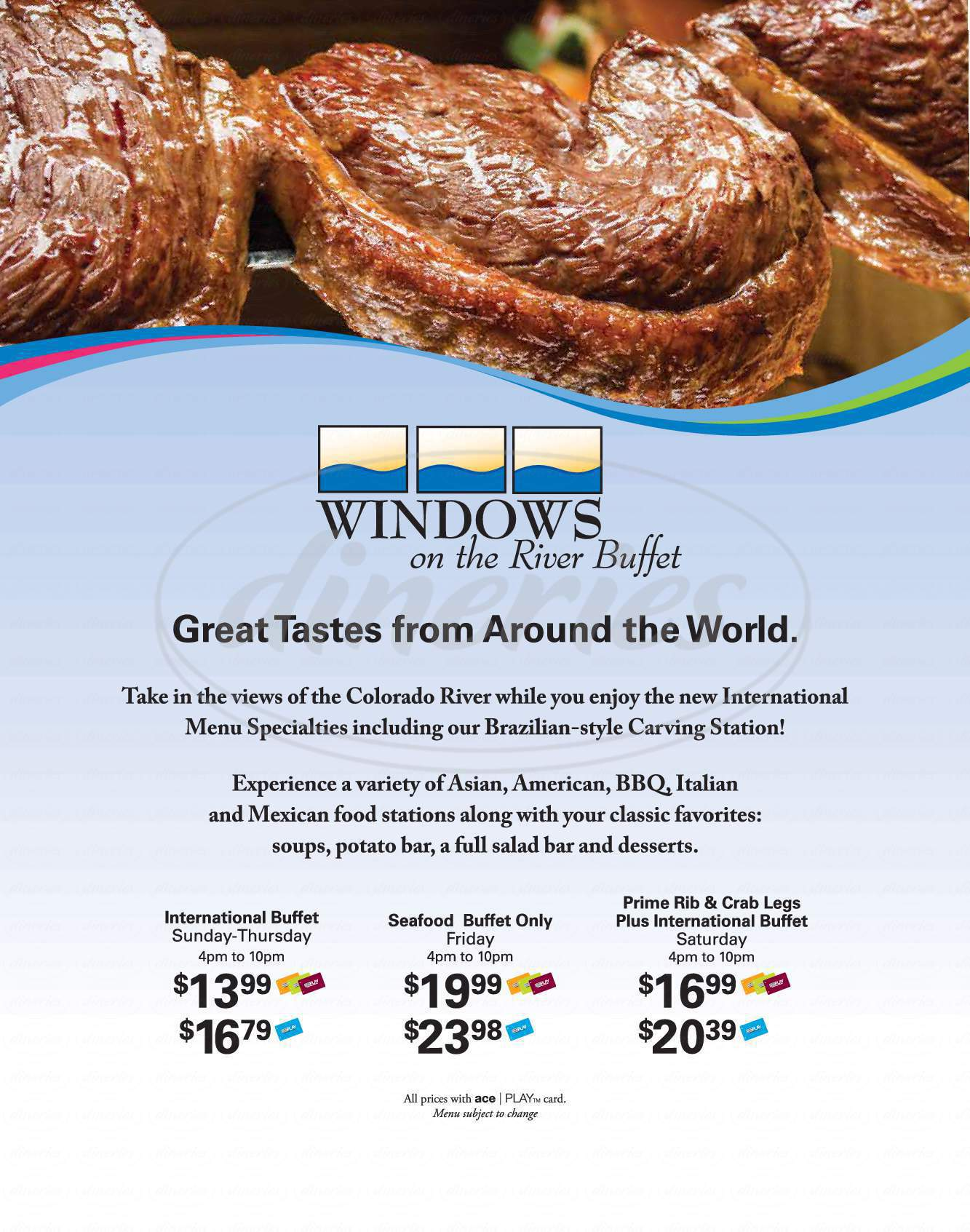 menu for Windows On The River Buffet